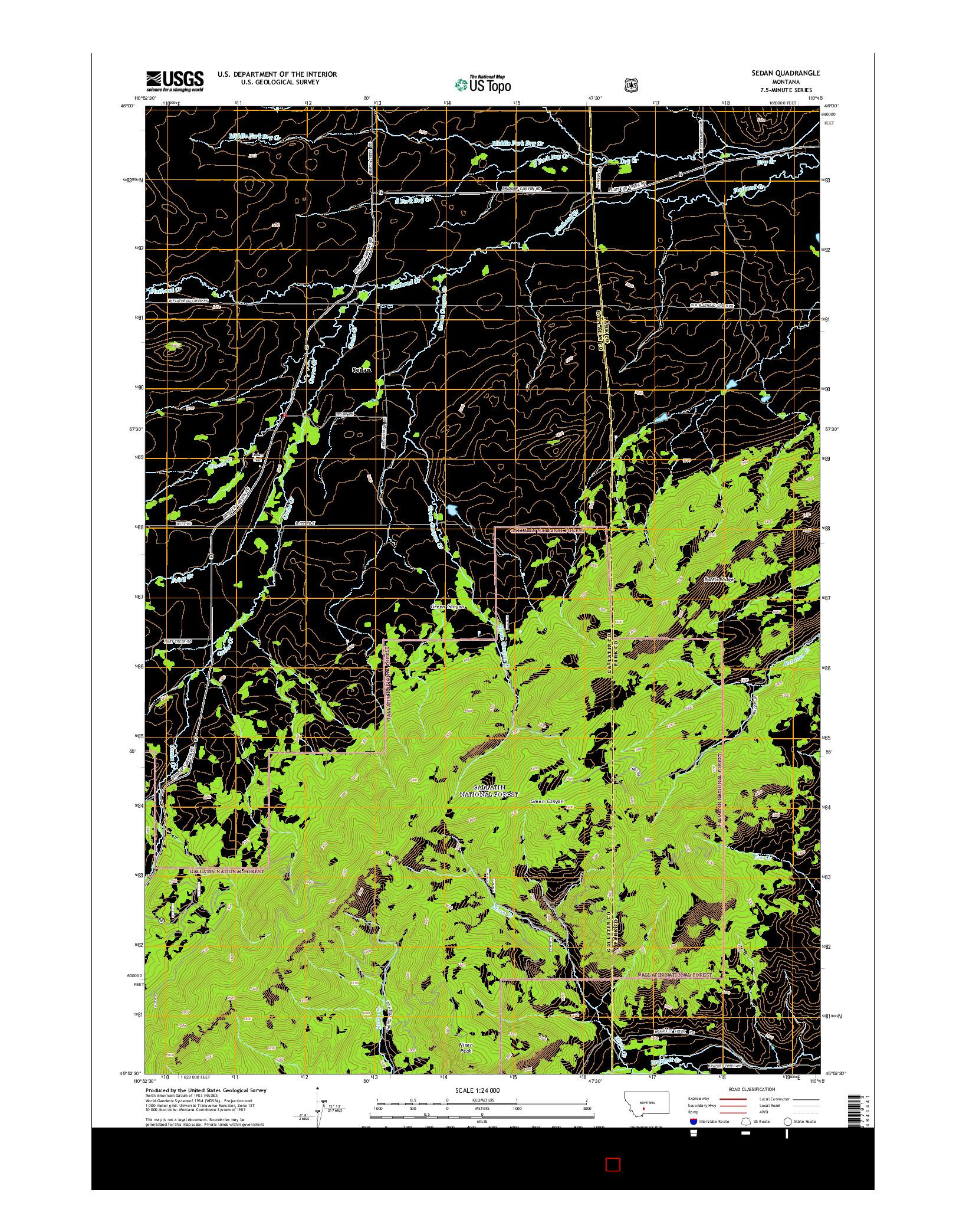USGS US TOPO 7.5-MINUTE MAP FOR SEDAN, MT 2014