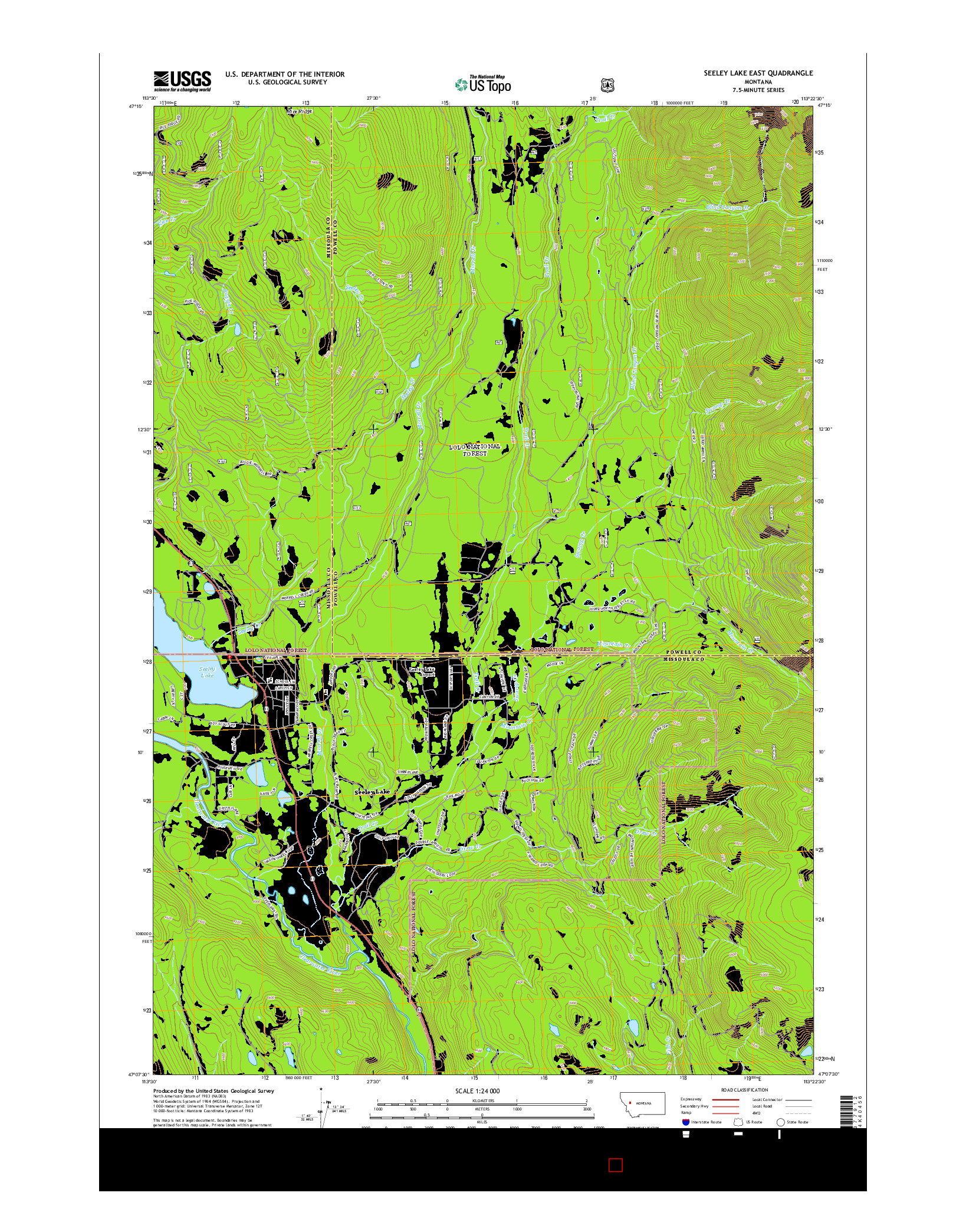 USGS US TOPO 7.5-MINUTE MAP FOR SEELEY LAKE EAST, MT 2014
