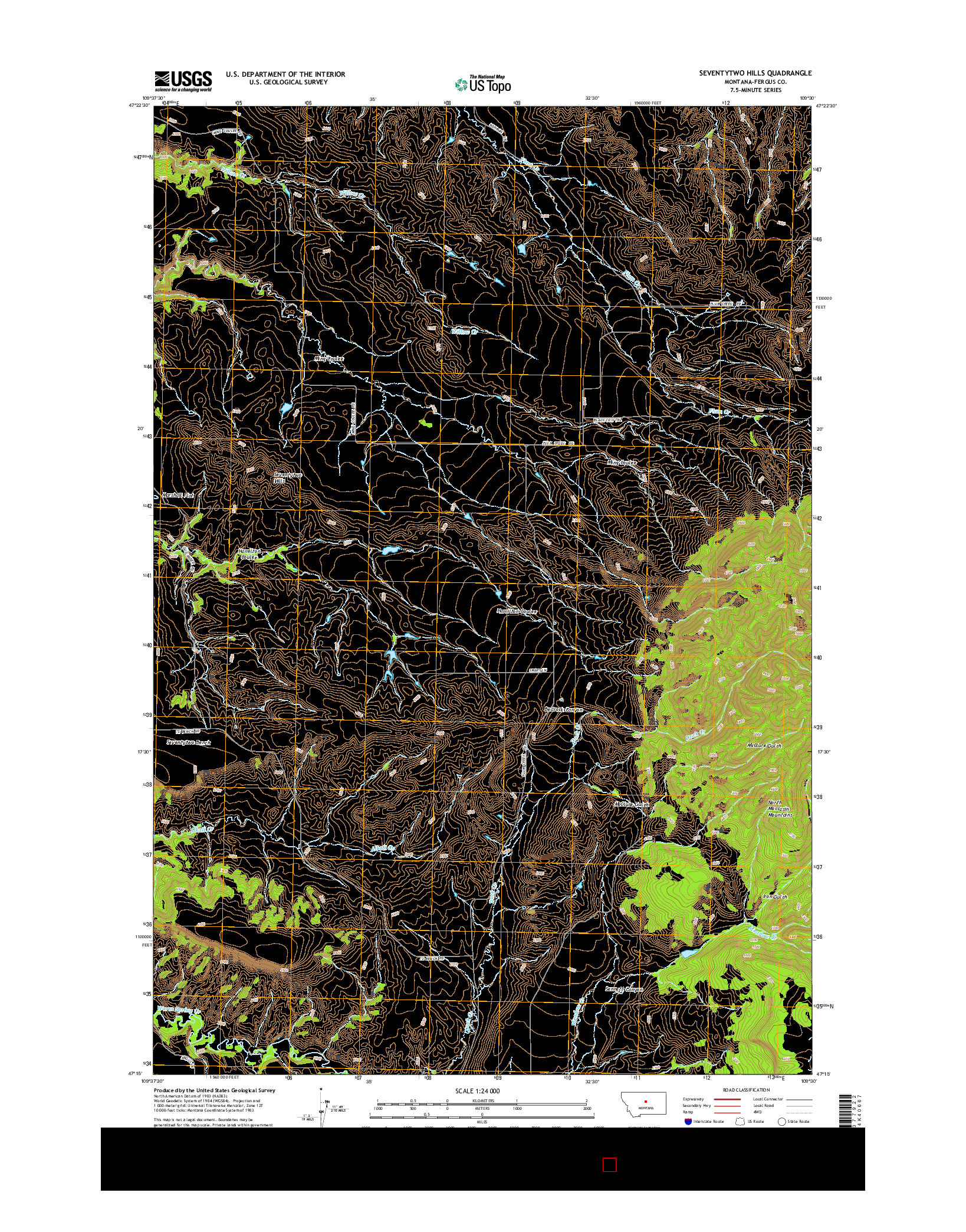 USGS US TOPO 7.5-MINUTE MAP FOR SEVENTYTWO HILLS, MT 2014