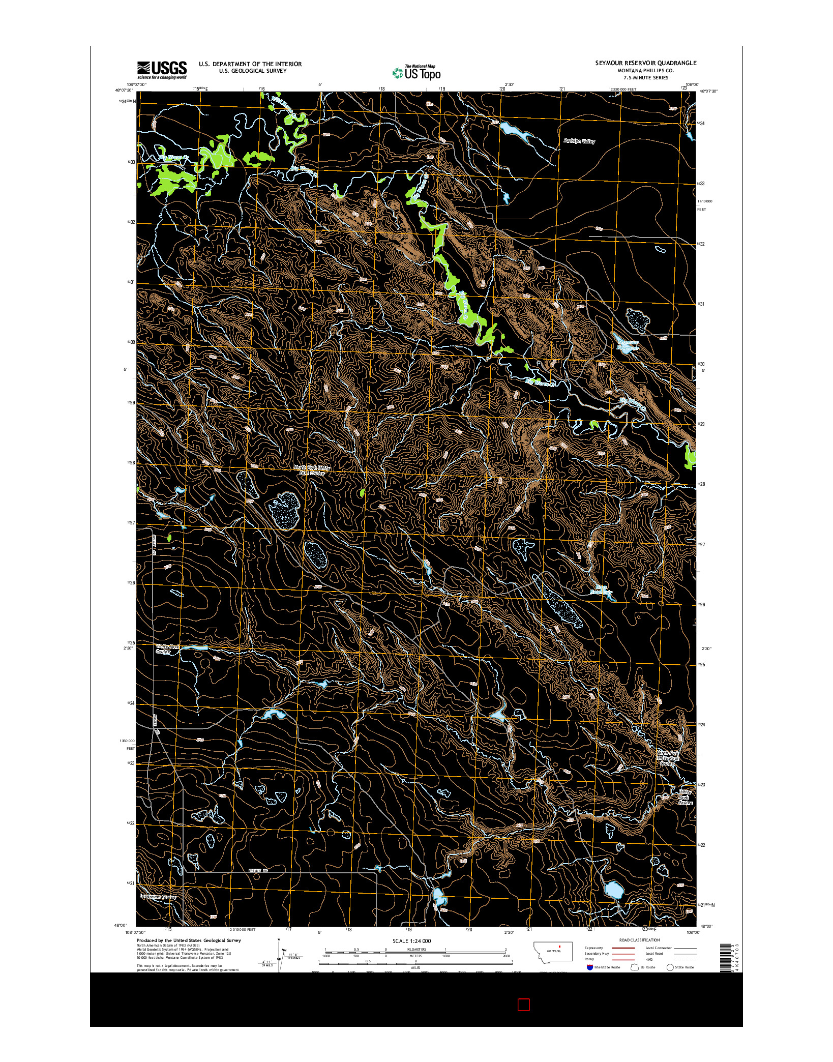 USGS US TOPO 7.5-MINUTE MAP FOR SEYMOUR RESERVOIR, MT 2014
