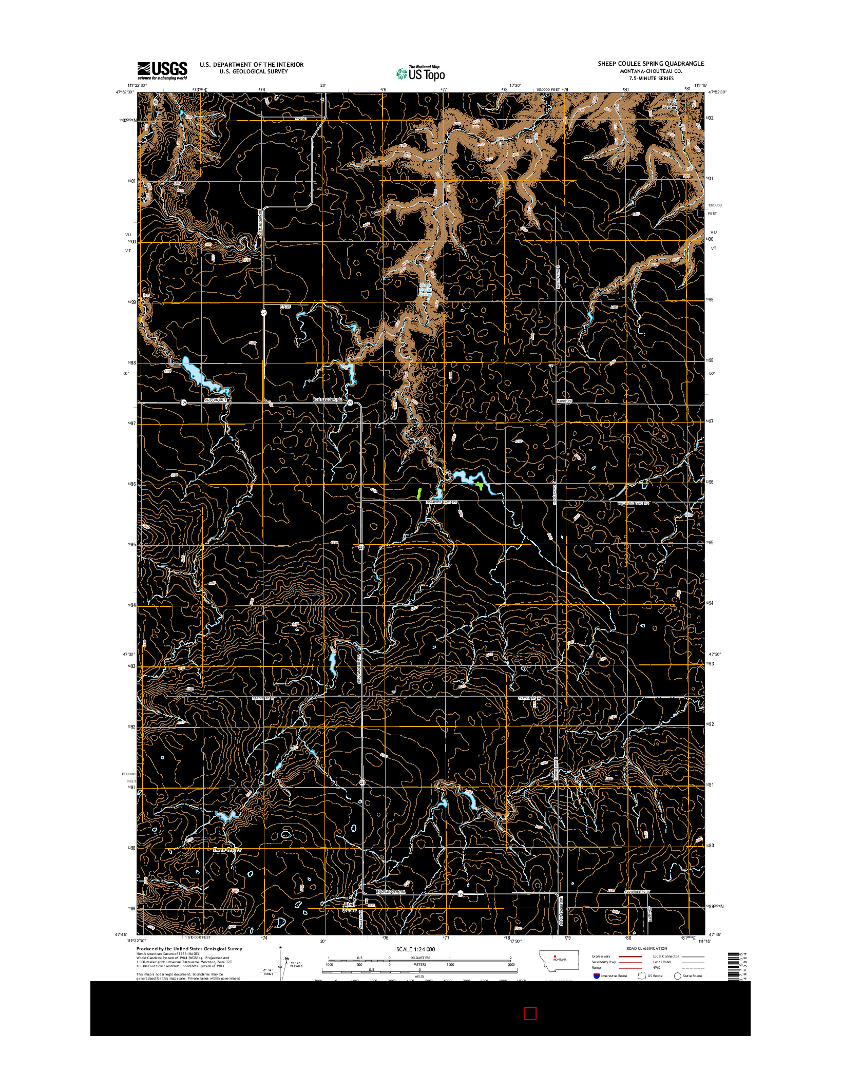 USGS US TOPO 7.5-MINUTE MAP FOR SHEEP COULEE SPRING, MT 2014