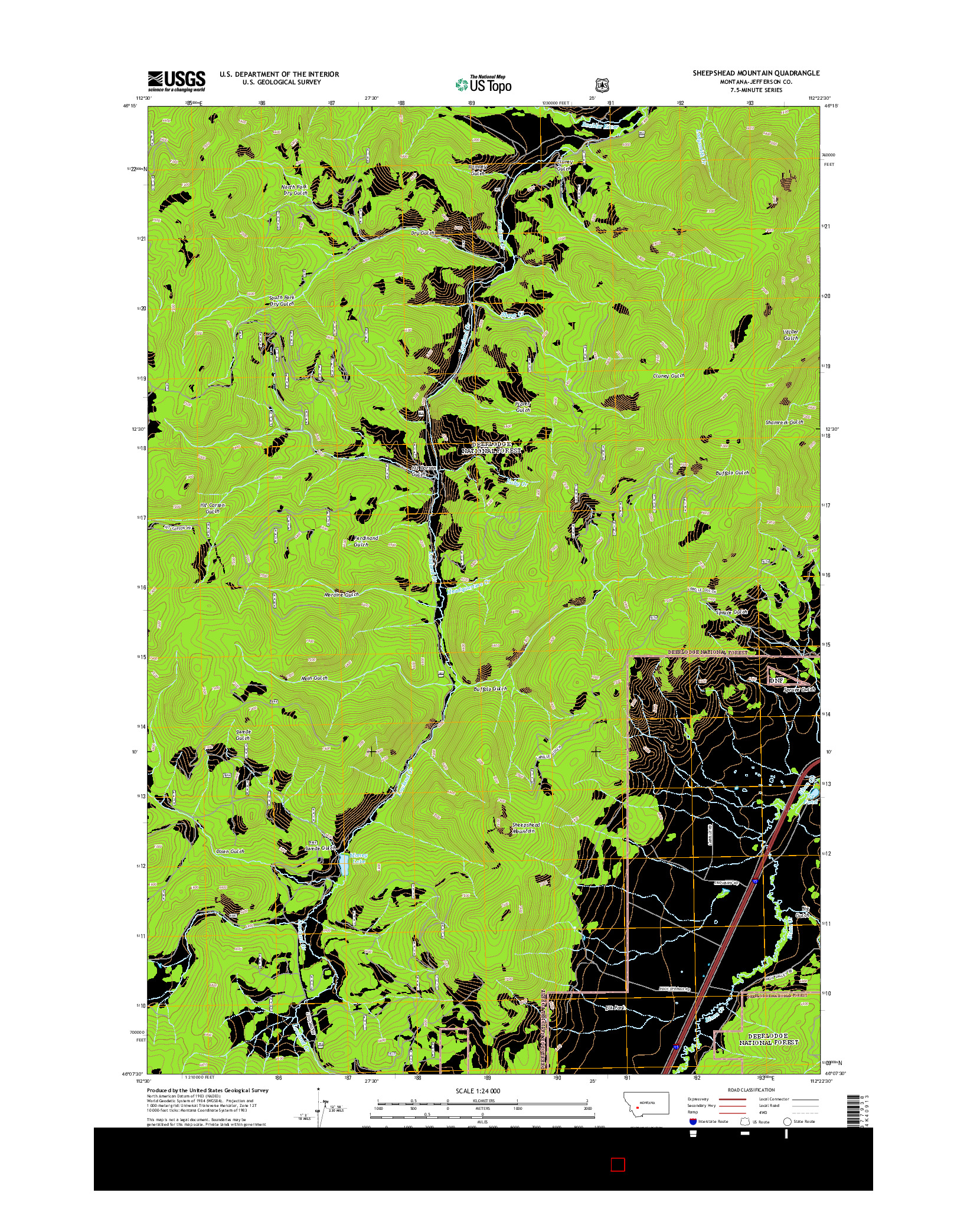 USGS US TOPO 7.5-MINUTE MAP FOR SHEEPSHEAD MOUNTAIN, MT 2014