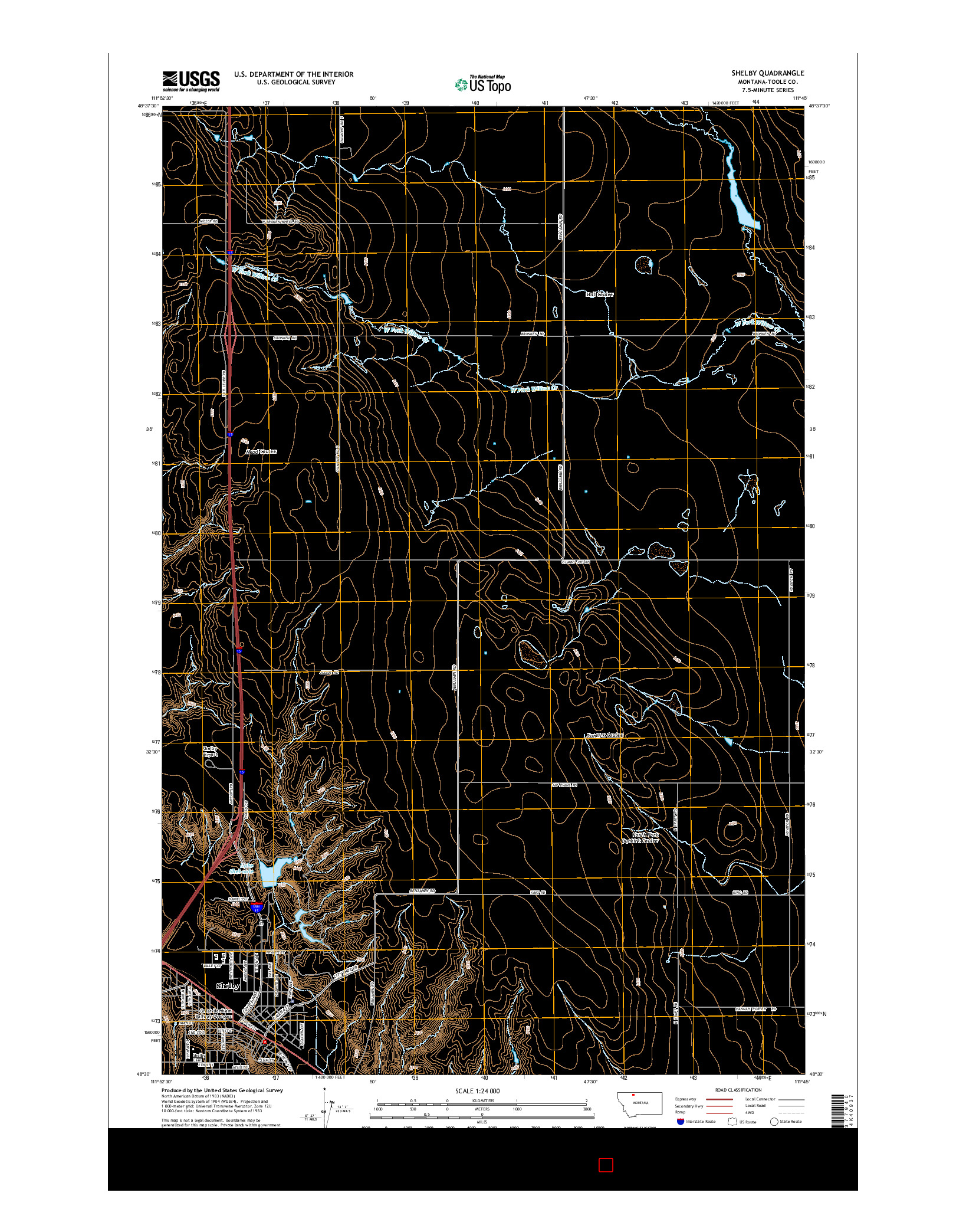 USGS US TOPO 7.5-MINUTE MAP FOR SHELBY, MT 2014