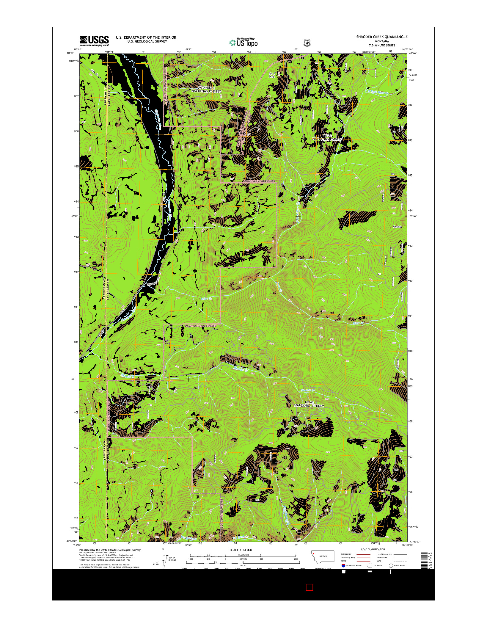 USGS US TOPO 7.5-MINUTE MAP FOR SHRODER CREEK, MT 2014