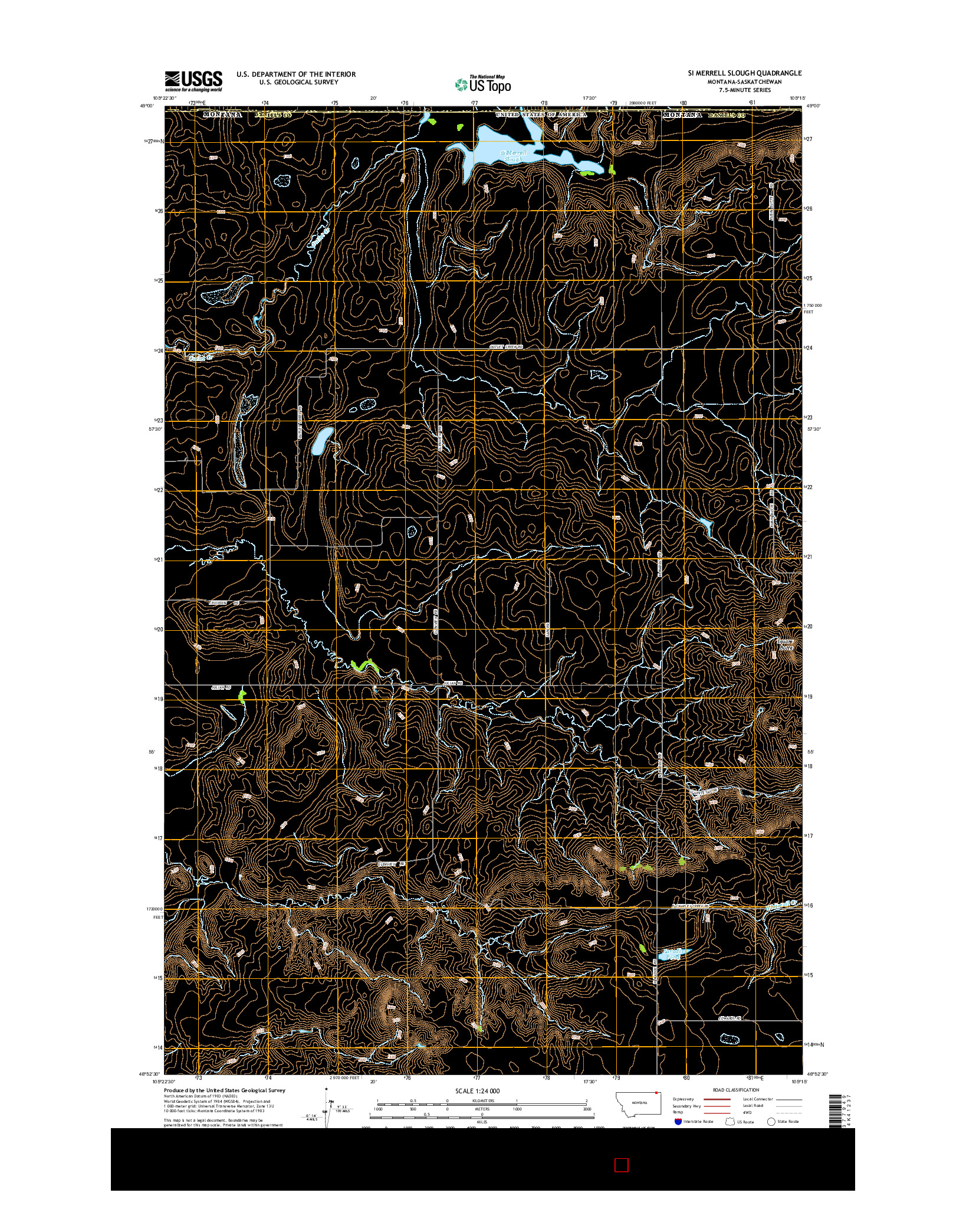 USGS US TOPO 7.5-MINUTE MAP FOR SI MERRELL SLOUGH, MT-SK 2014