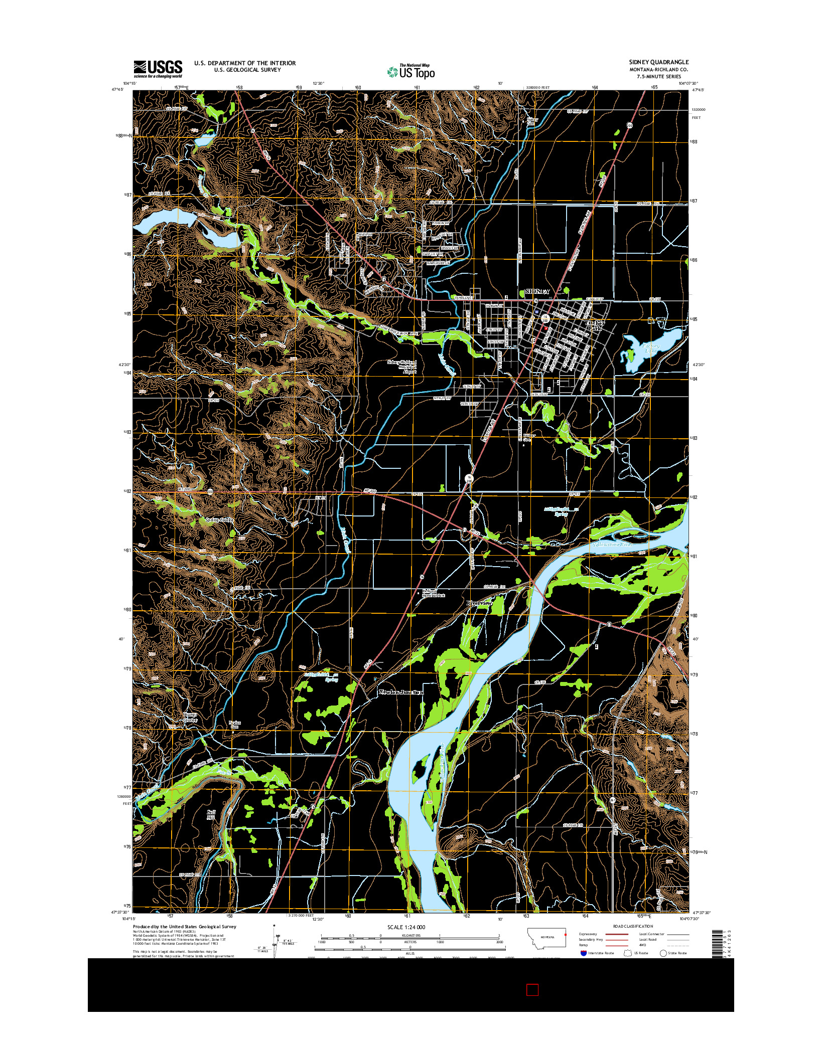 USGS US TOPO 7.5-MINUTE MAP FOR SIDNEY, MT 2014