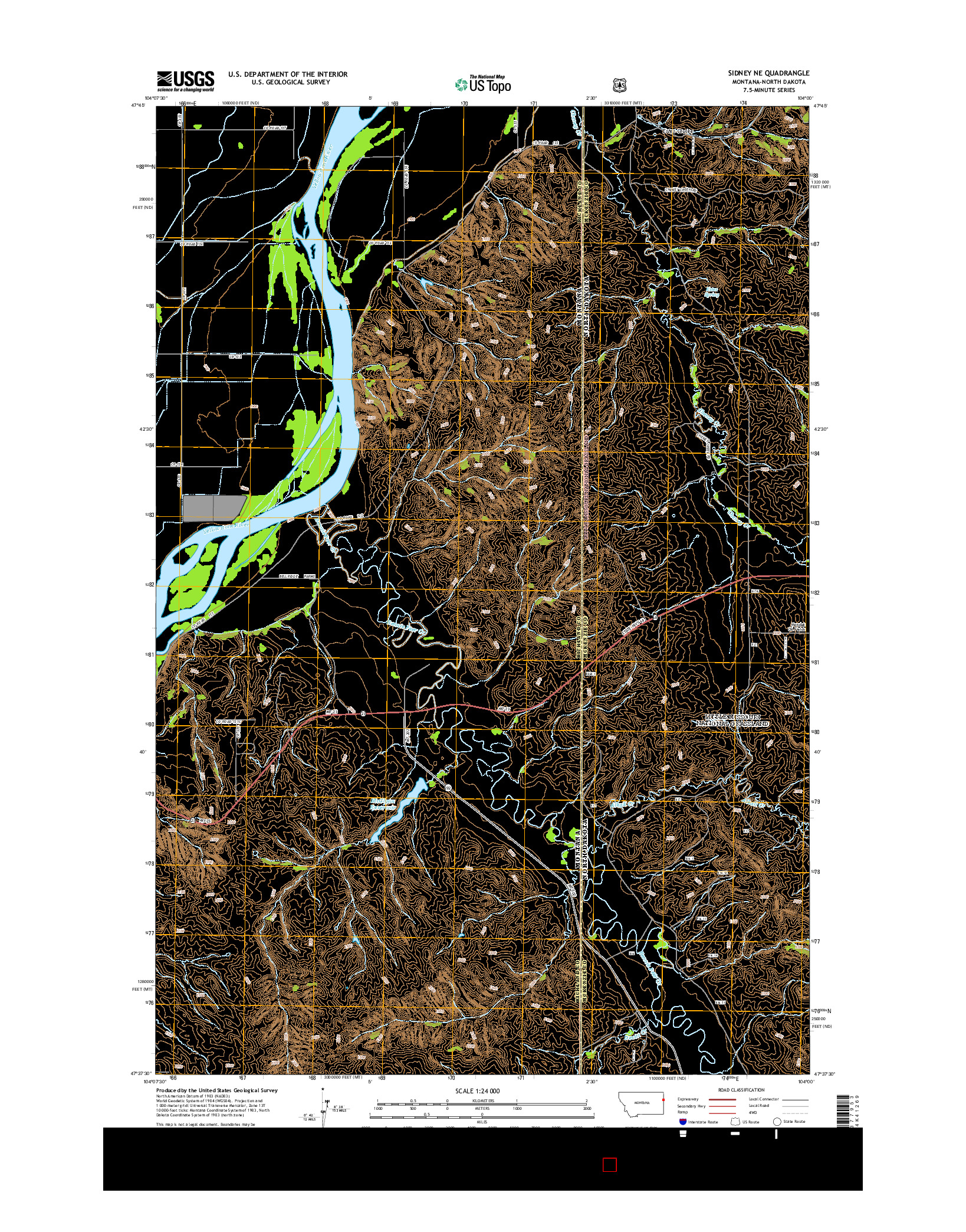 USGS US TOPO 7.5-MINUTE MAP FOR SIDNEY NE, MT-ND 2014