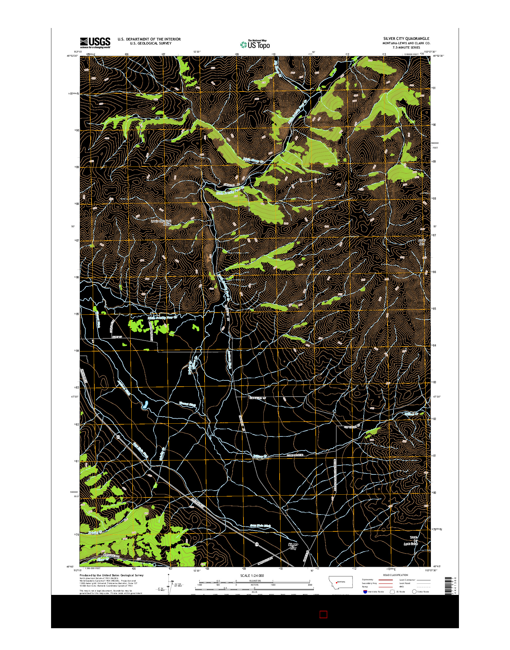 USGS US TOPO 7.5-MINUTE MAP FOR SILVER CITY, MT 2014