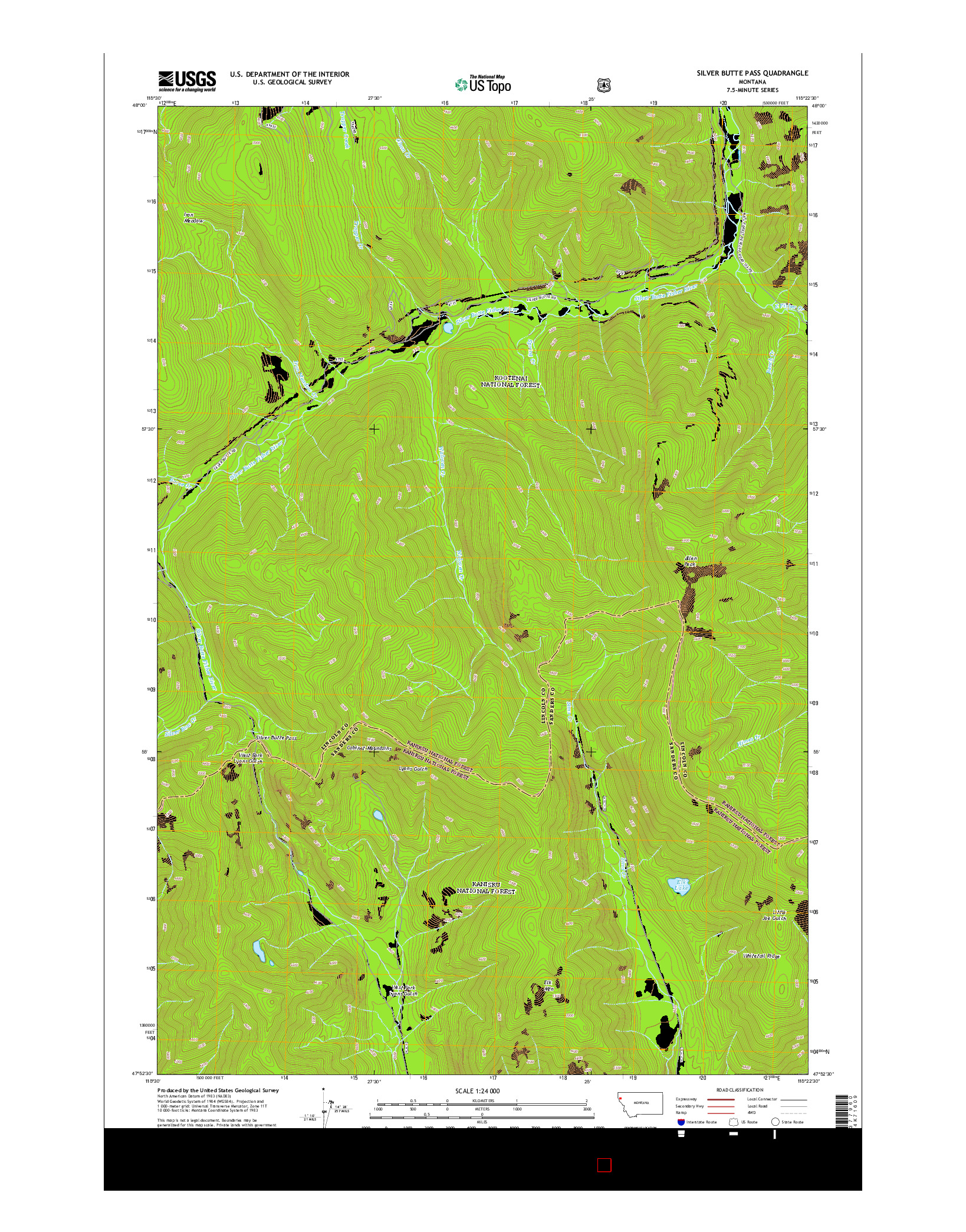 USGS US TOPO 7.5-MINUTE MAP FOR SILVER BUTTE PASS, MT 2014