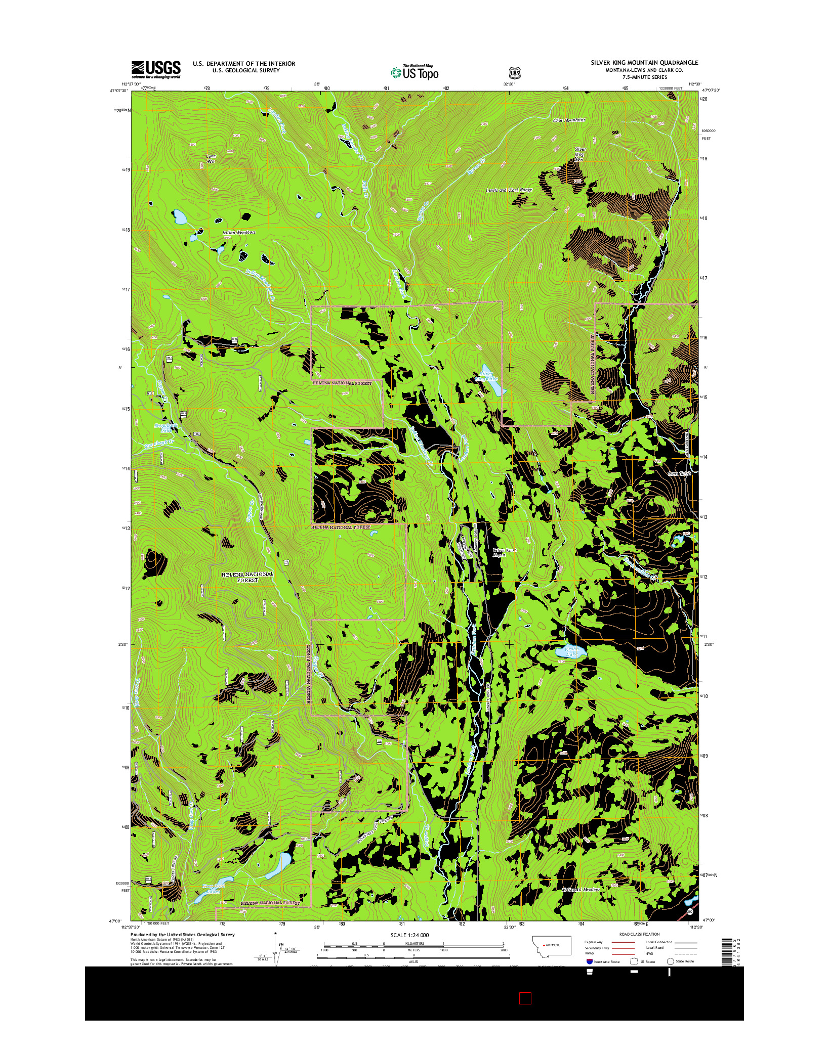 USGS US TOPO 7.5-MINUTE MAP FOR SILVER KING MOUNTAIN, MT 2014