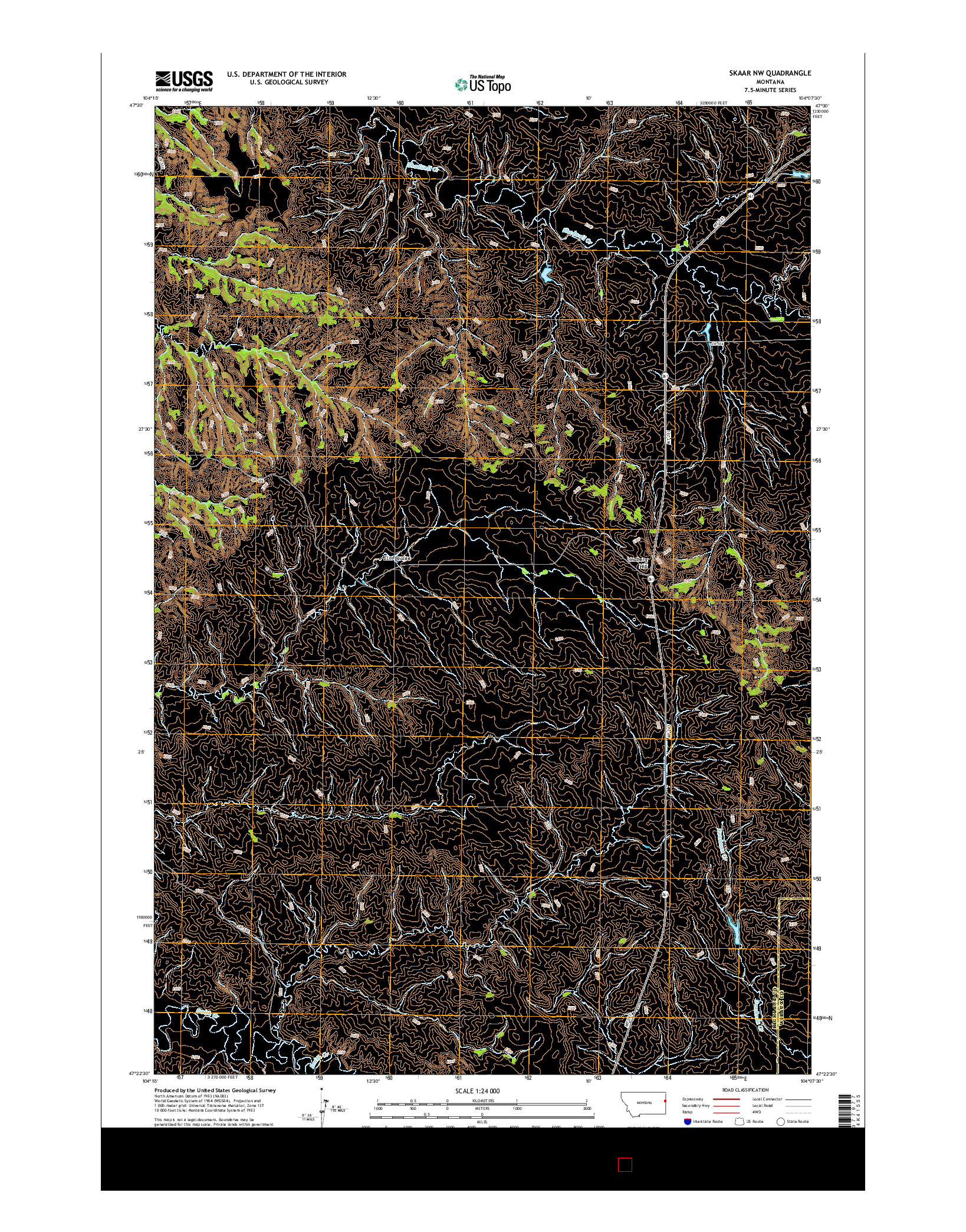 USGS US TOPO 7.5-MINUTE MAP FOR SKAAR NW, MT 2014