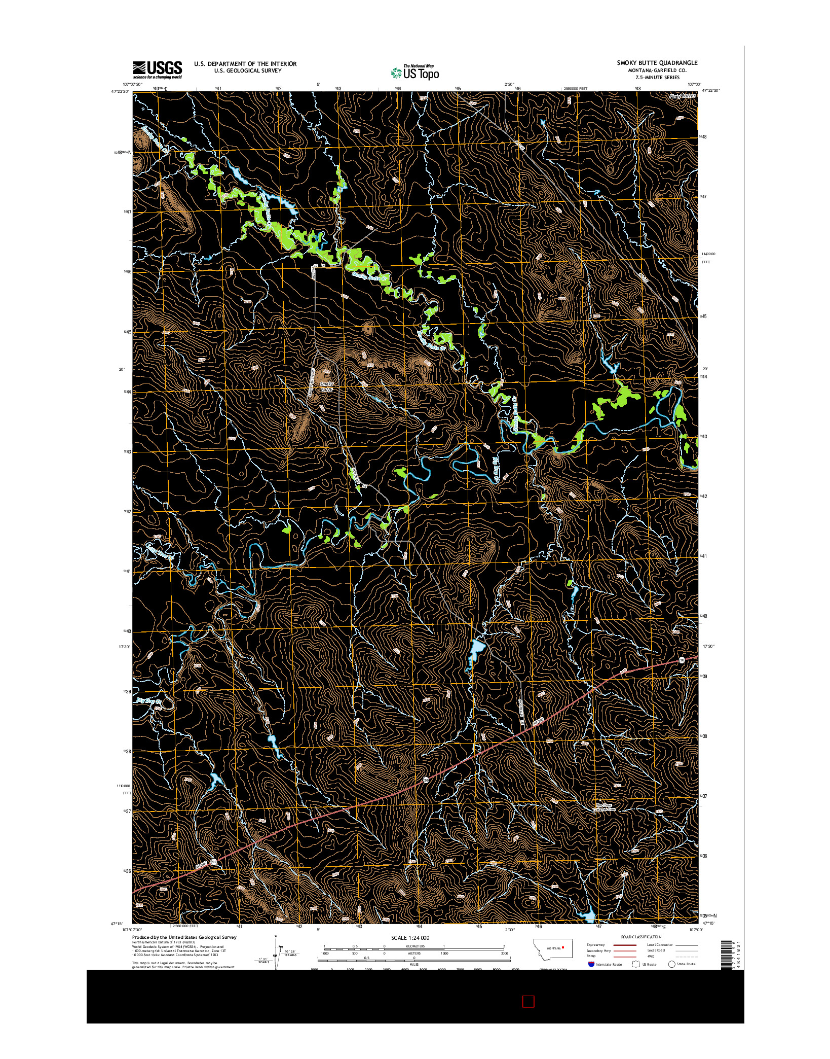 USGS US TOPO 7.5-MINUTE MAP FOR SMOKY BUTTE, MT 2014