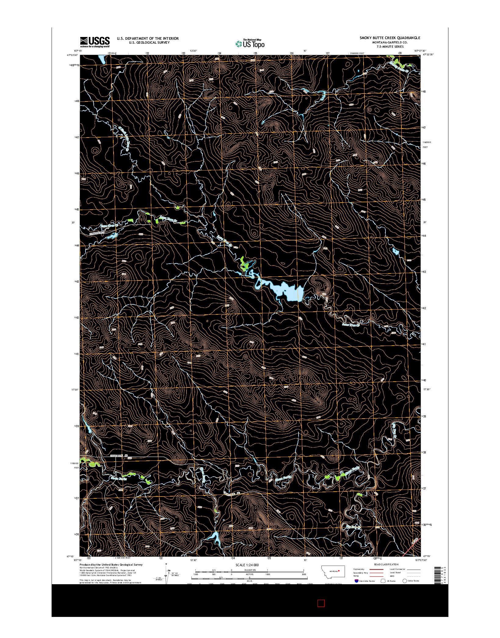 USGS US TOPO 7.5-MINUTE MAP FOR SMOKY BUTTE CREEK, MT 2014