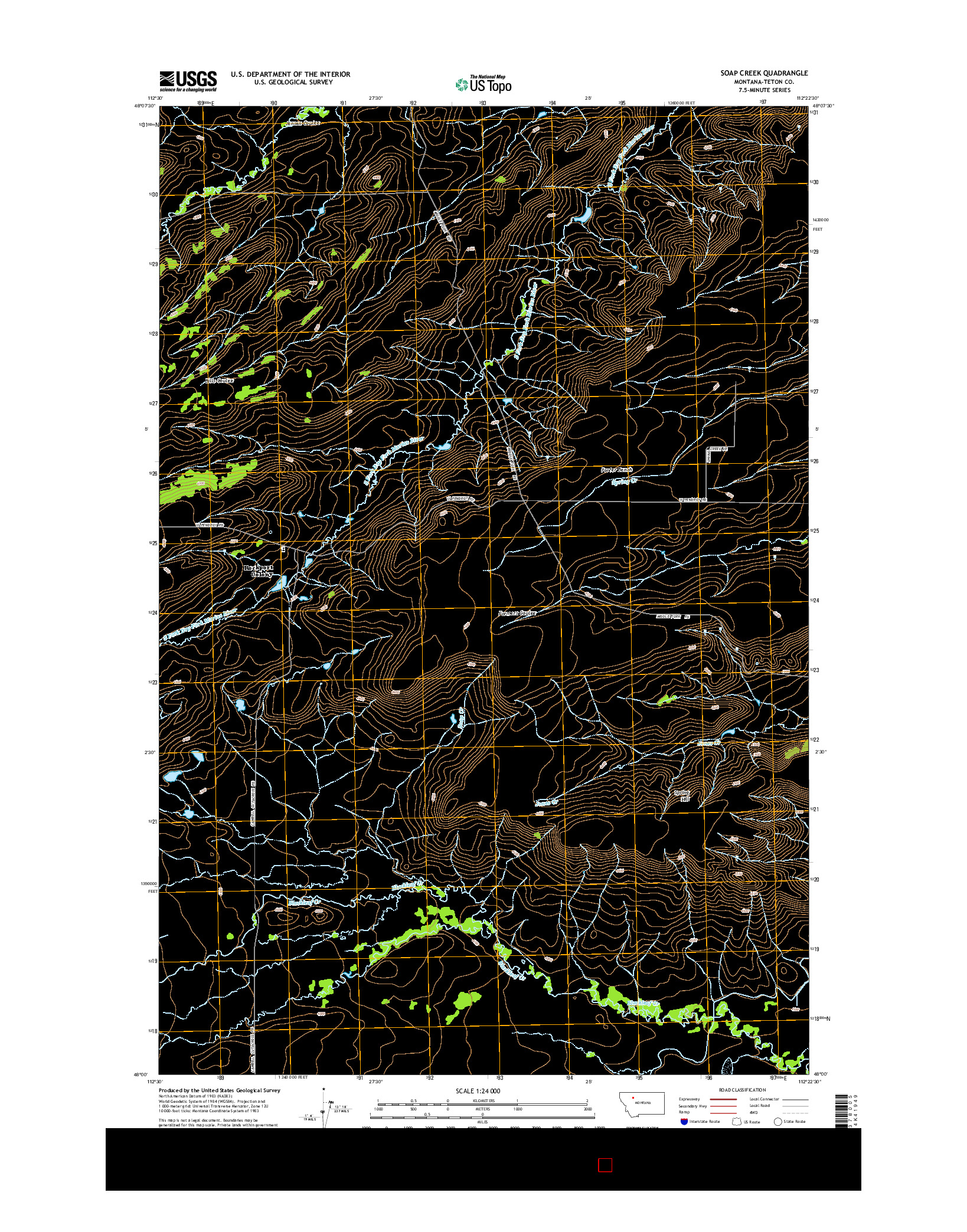 USGS US TOPO 7.5-MINUTE MAP FOR SOAP CREEK, MT 2014