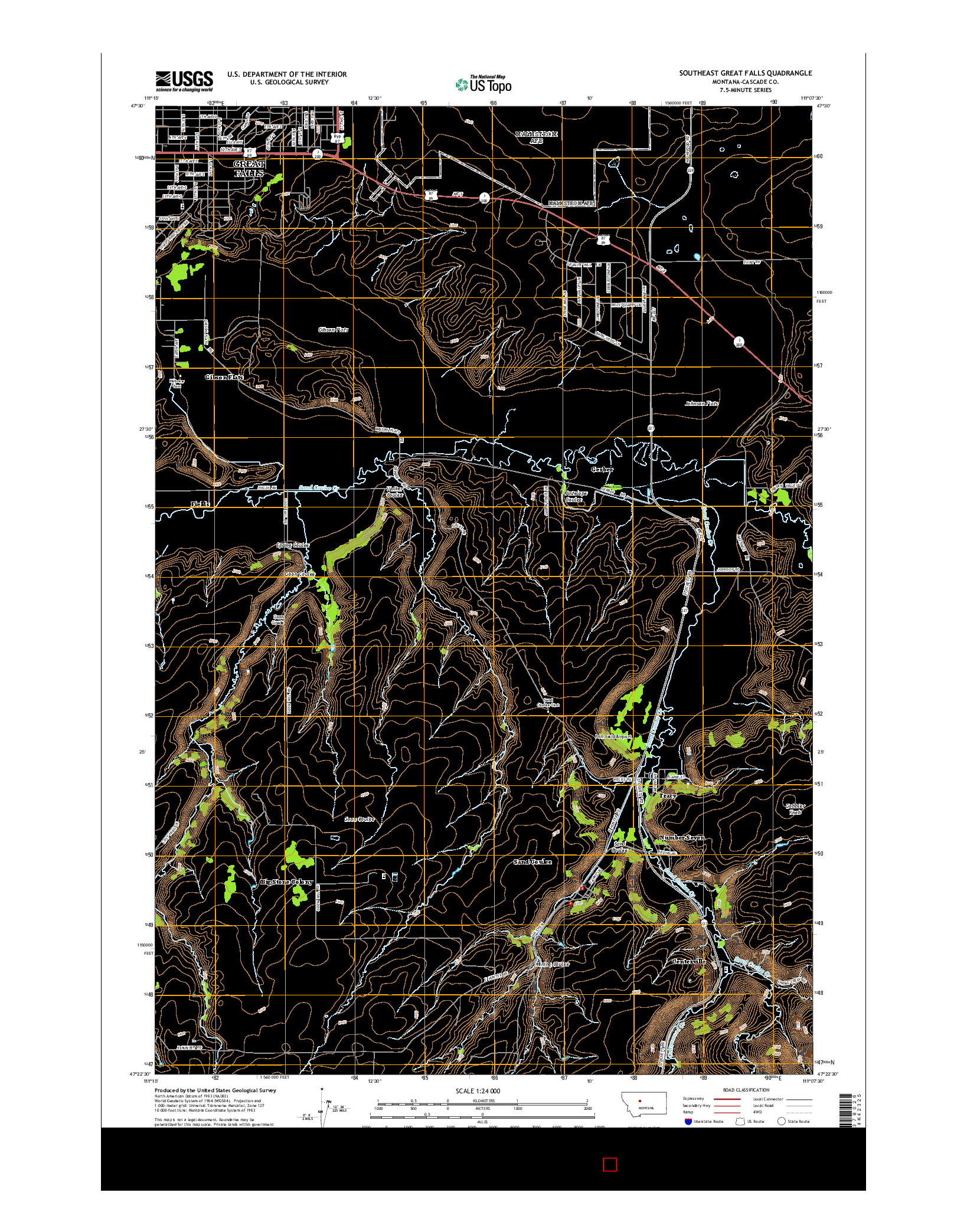 USGS US TOPO 7.5-MINUTE MAP FOR SOUTHEAST GREAT FALLS, MT 2014