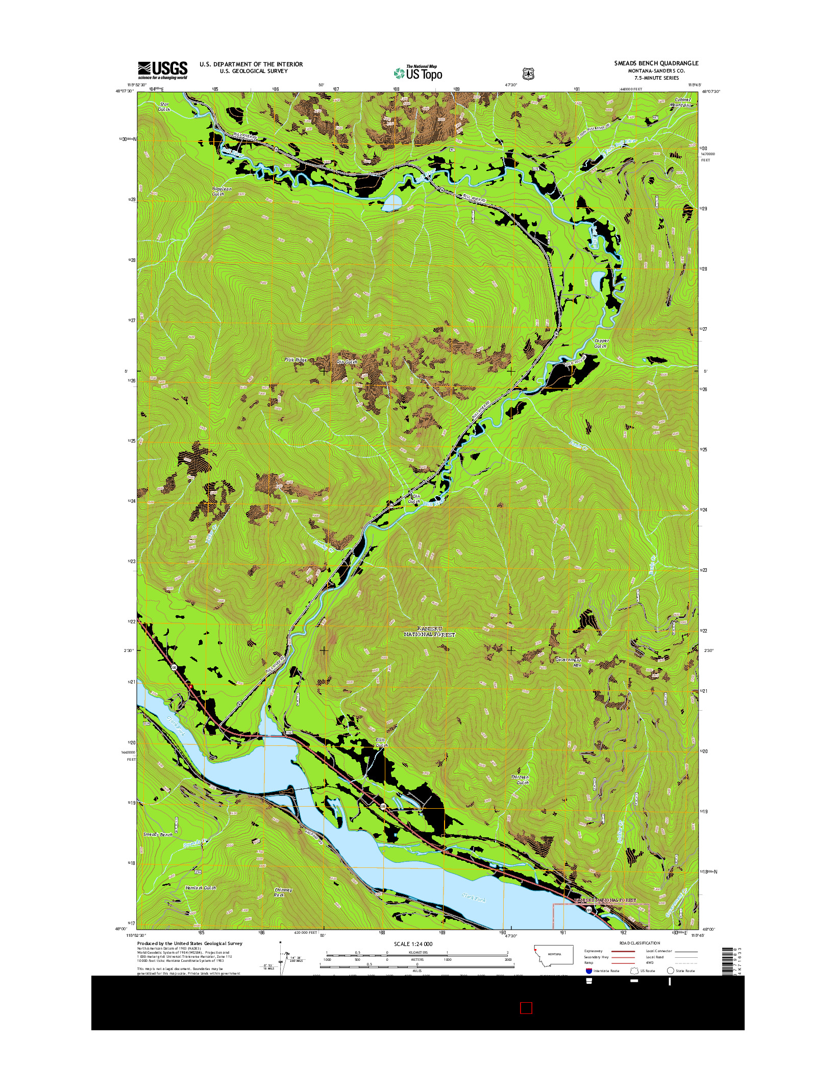 USGS US TOPO 7.5-MINUTE MAP FOR SMEADS BENCH, MT 2014