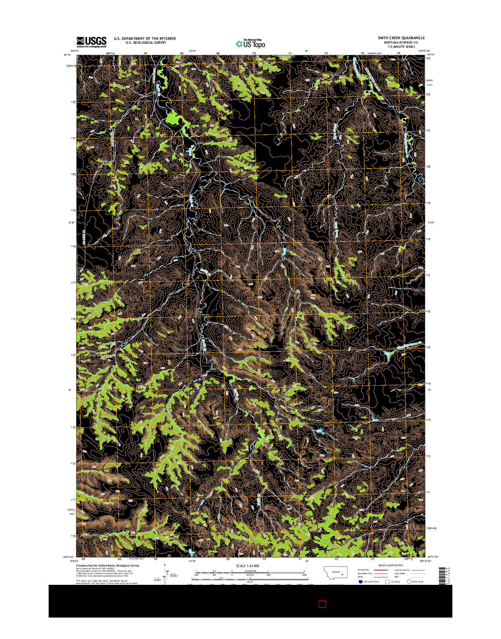 USGS US TOPO 7.5-MINUTE MAP FOR SMITH CREEK, MT 2014