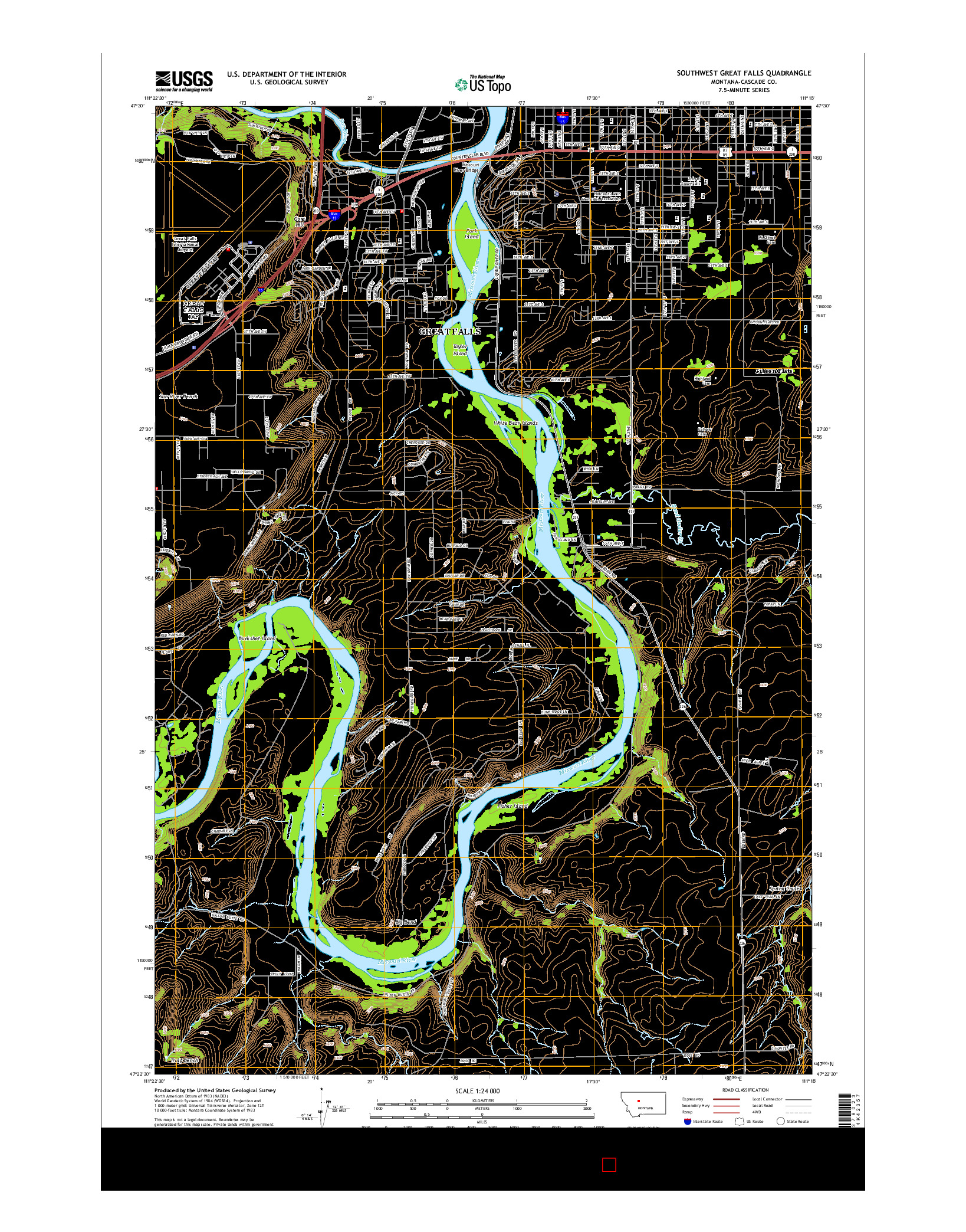 USGS US TOPO 7.5-MINUTE MAP FOR SOUTHWEST GREAT FALLS, MT 2014