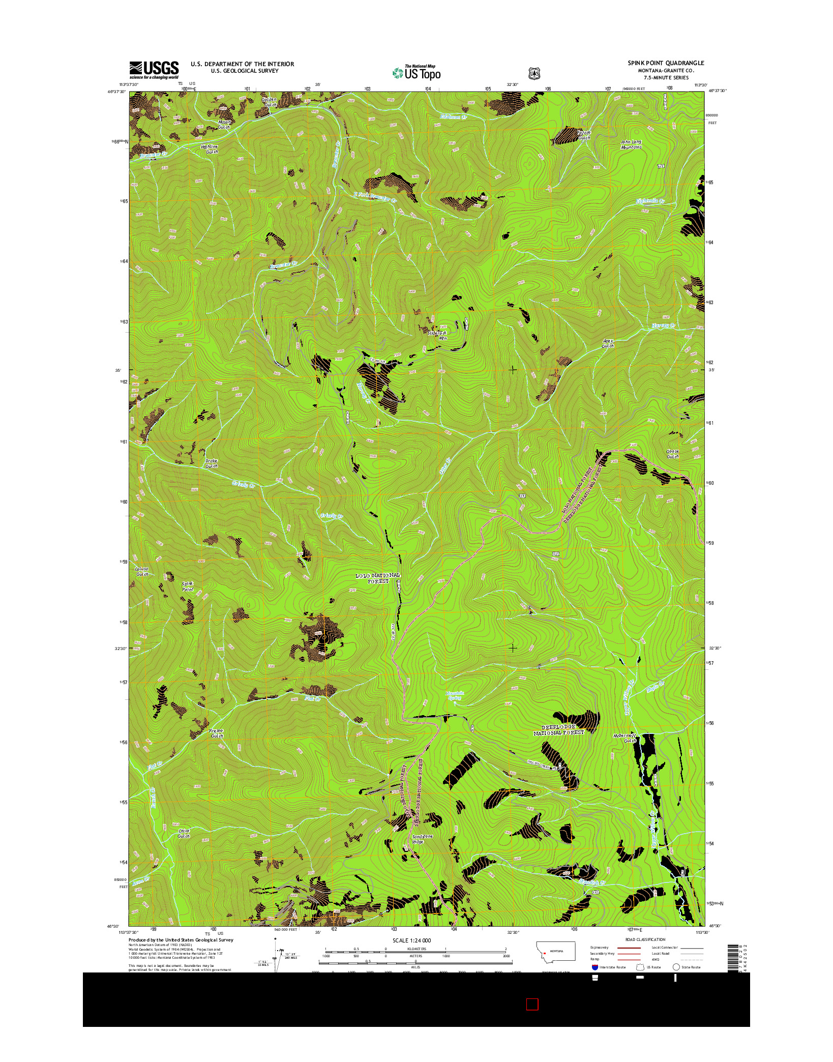 USGS US TOPO 7.5-MINUTE MAP FOR SPINK POINT, MT 2014