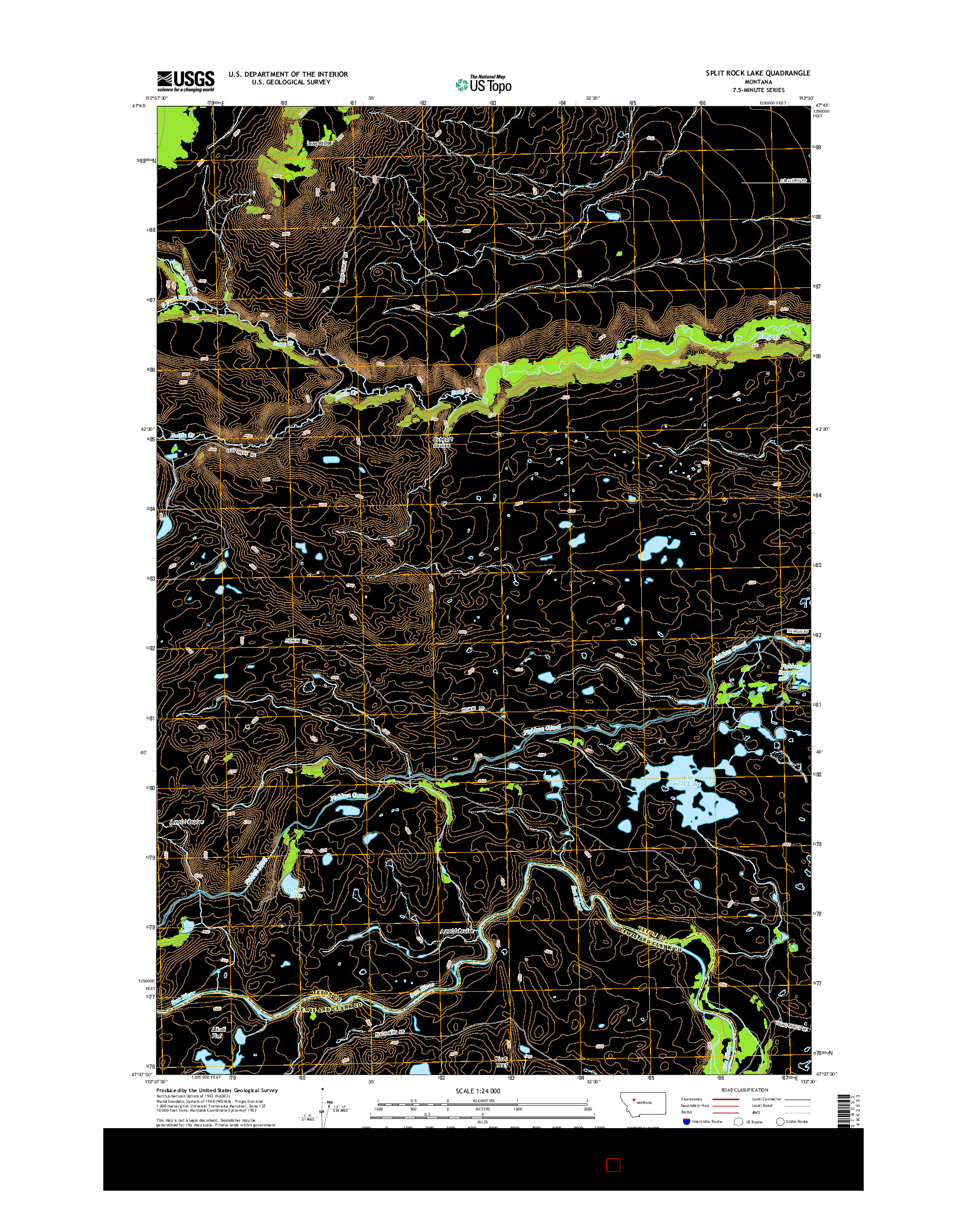USGS US TOPO 7.5-MINUTE MAP FOR SPLIT ROCK LAKE, MT 2014