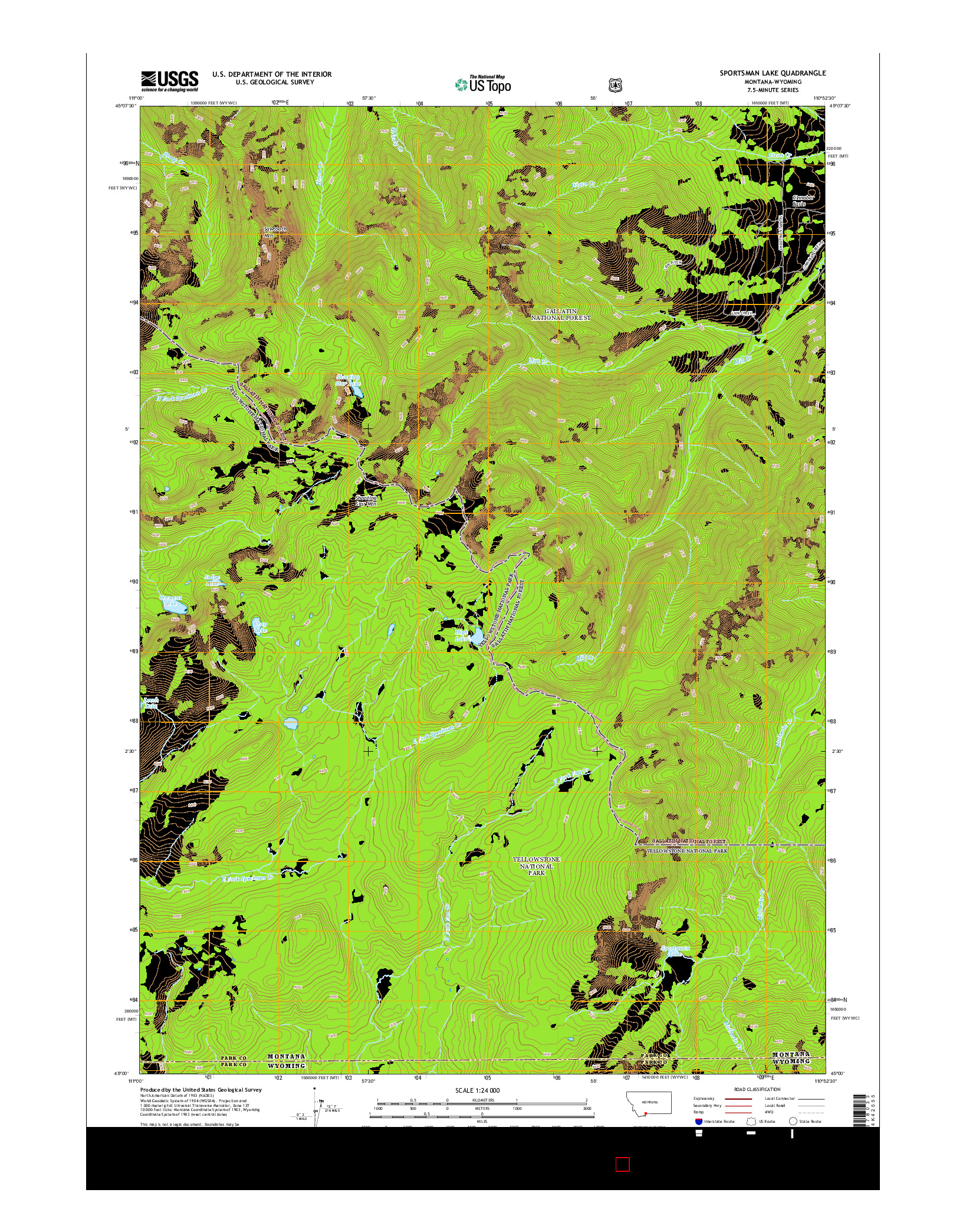 USGS US TOPO 7.5-MINUTE MAP FOR SPORTSMAN LAKE, MT-WY 2014