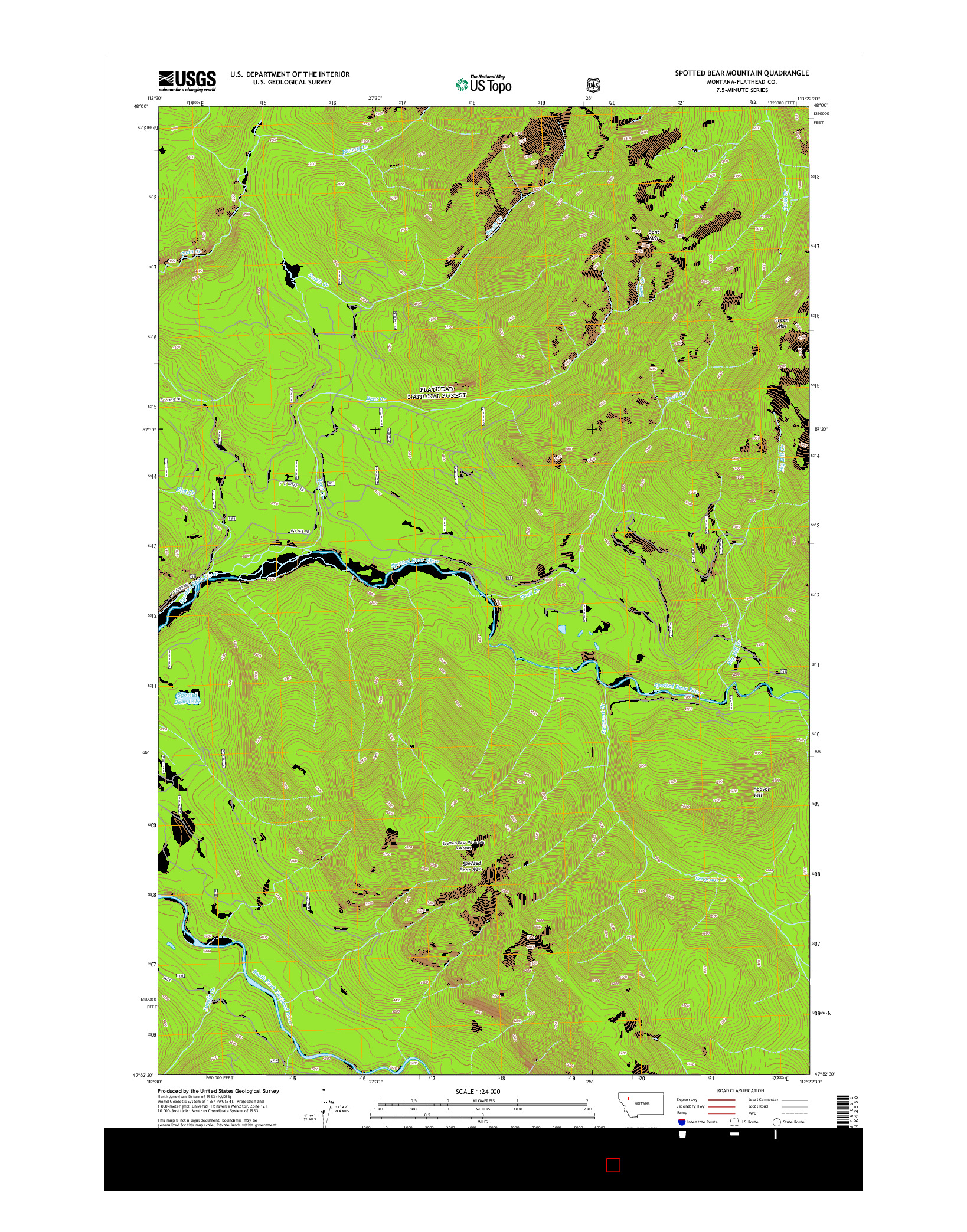 USGS US TOPO 7.5-MINUTE MAP FOR SPOTTED BEAR MOUNTAIN, MT 2014