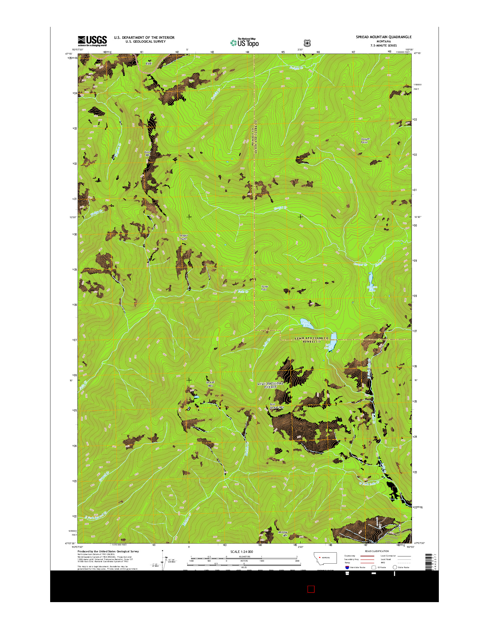 USGS US TOPO 7.5-MINUTE MAP FOR SPREAD MOUNTAIN, MT 2014
