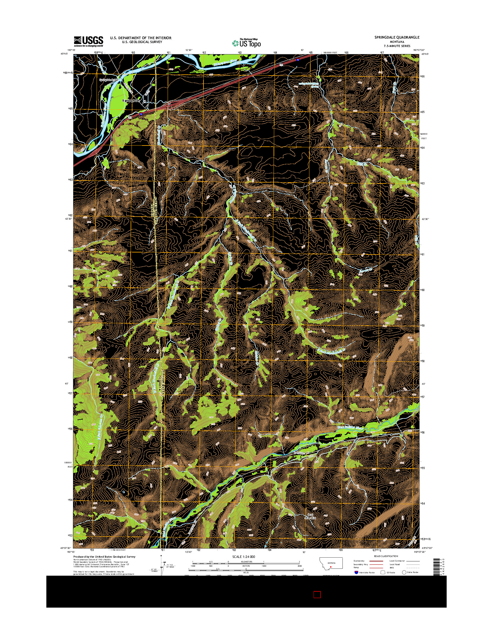 USGS US TOPO 7.5-MINUTE MAP FOR SPRINGDALE, MT 2014