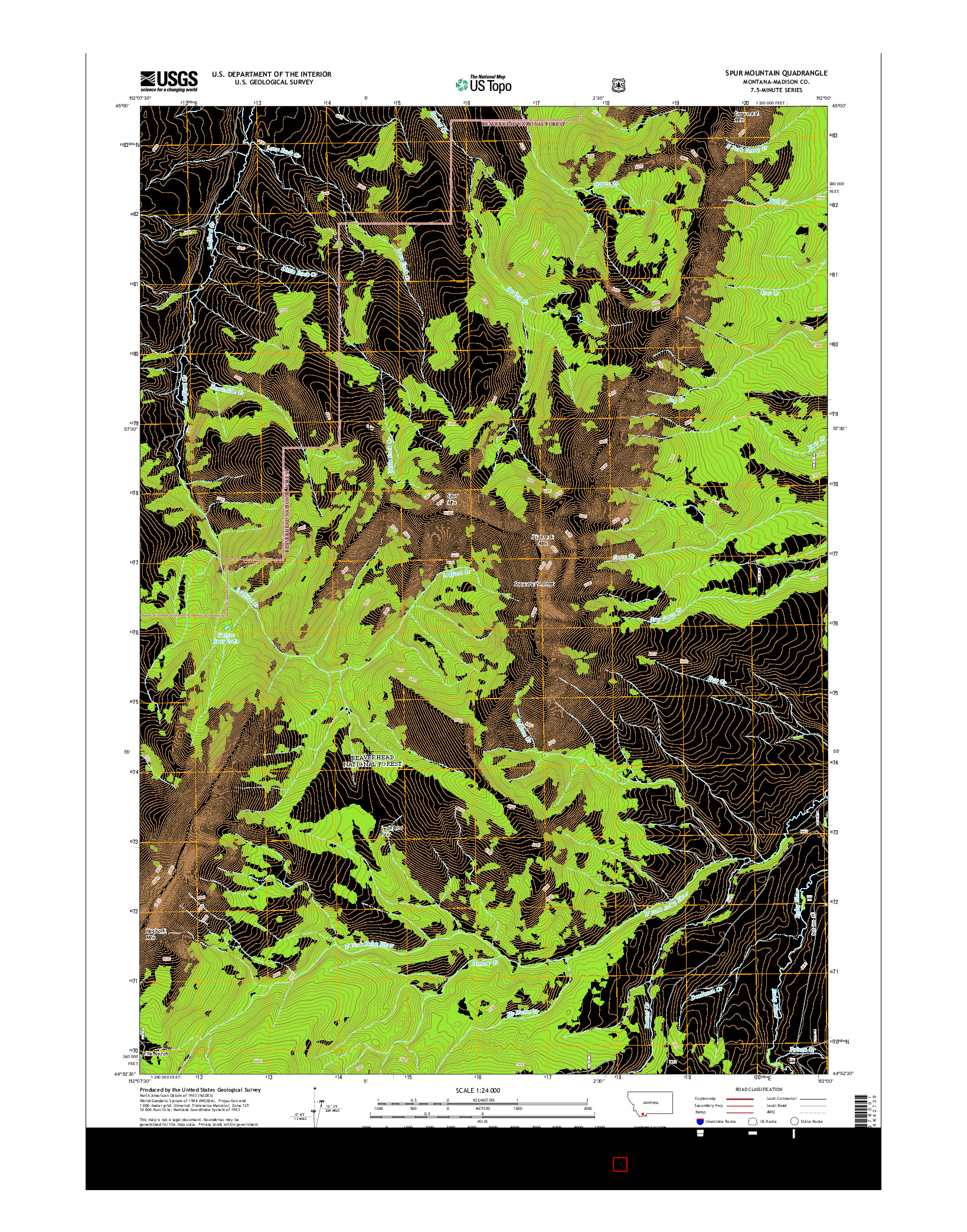 USGS US TOPO 7.5-MINUTE MAP FOR SPUR MOUNTAIN, MT 2014