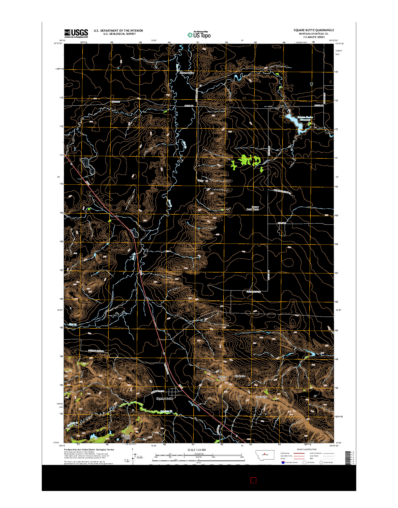 USGS US TOPO 7.5-MINUTE MAP FOR SQUARE BUTTE, MT 2014