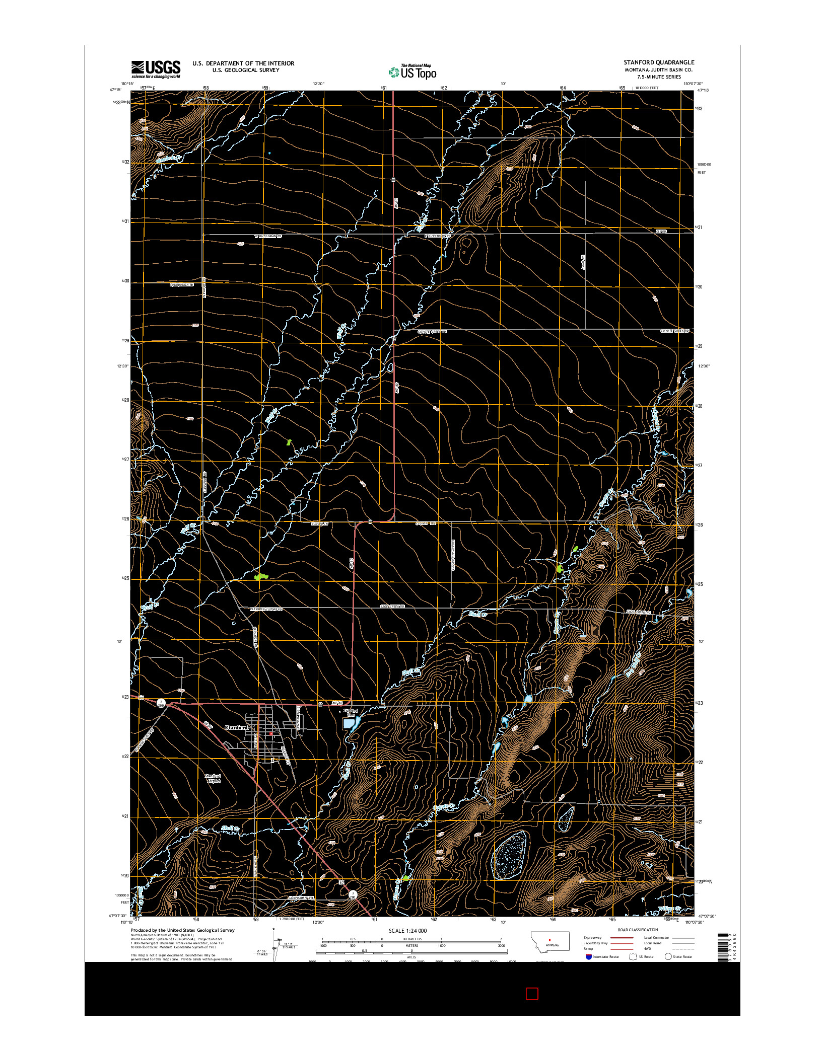 USGS US TOPO 7.5-MINUTE MAP FOR STANFORD, MT 2014