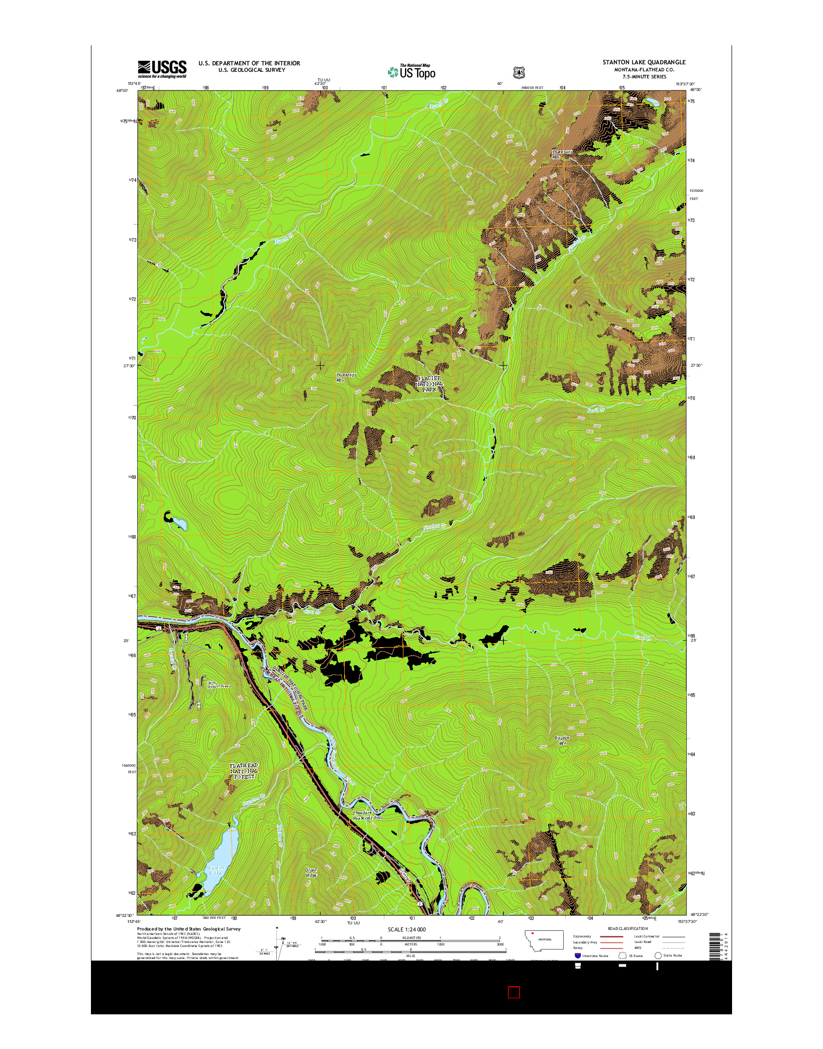 USGS US TOPO 7.5-MINUTE MAP FOR STANTON LAKE, MT 2014