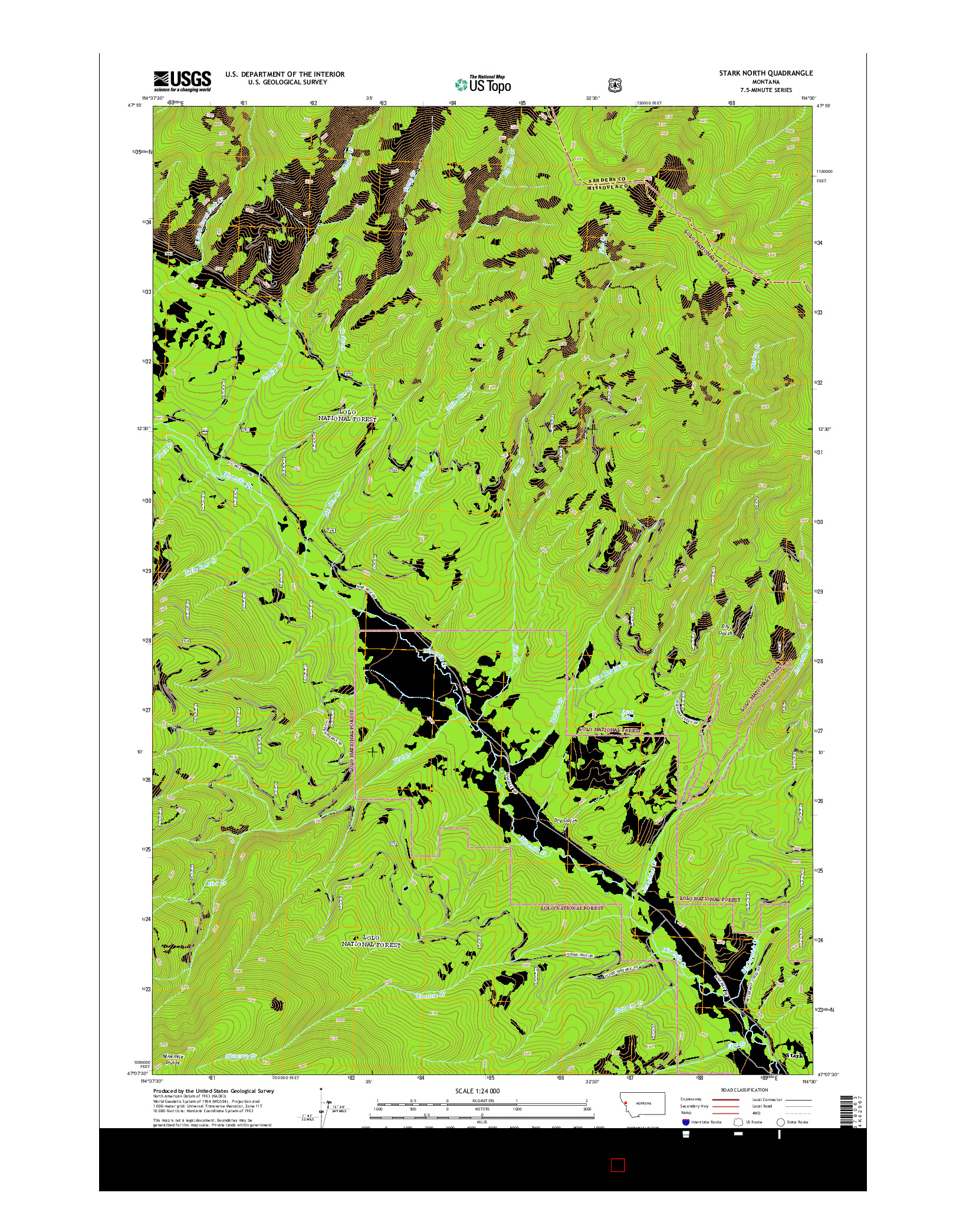 USGS US TOPO 7.5-MINUTE MAP FOR STARK NORTH, MT 2014