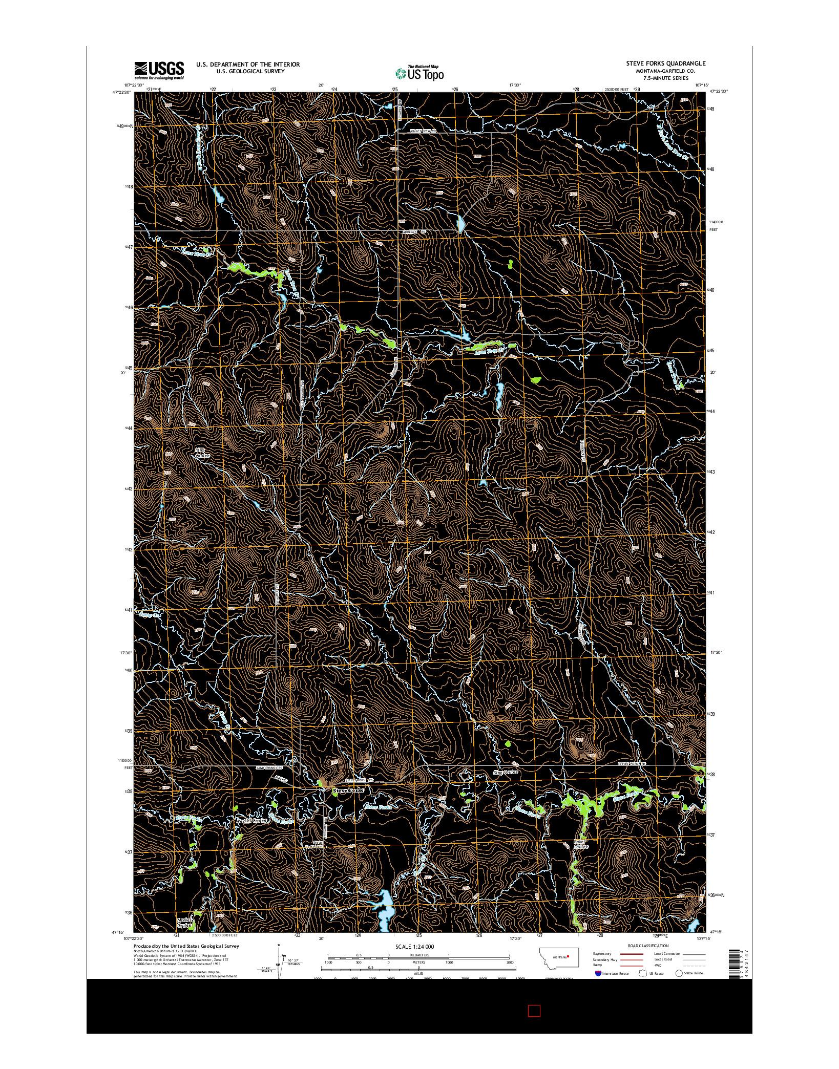 USGS US TOPO 7.5-MINUTE MAP FOR STEVE FORKS, MT 2014