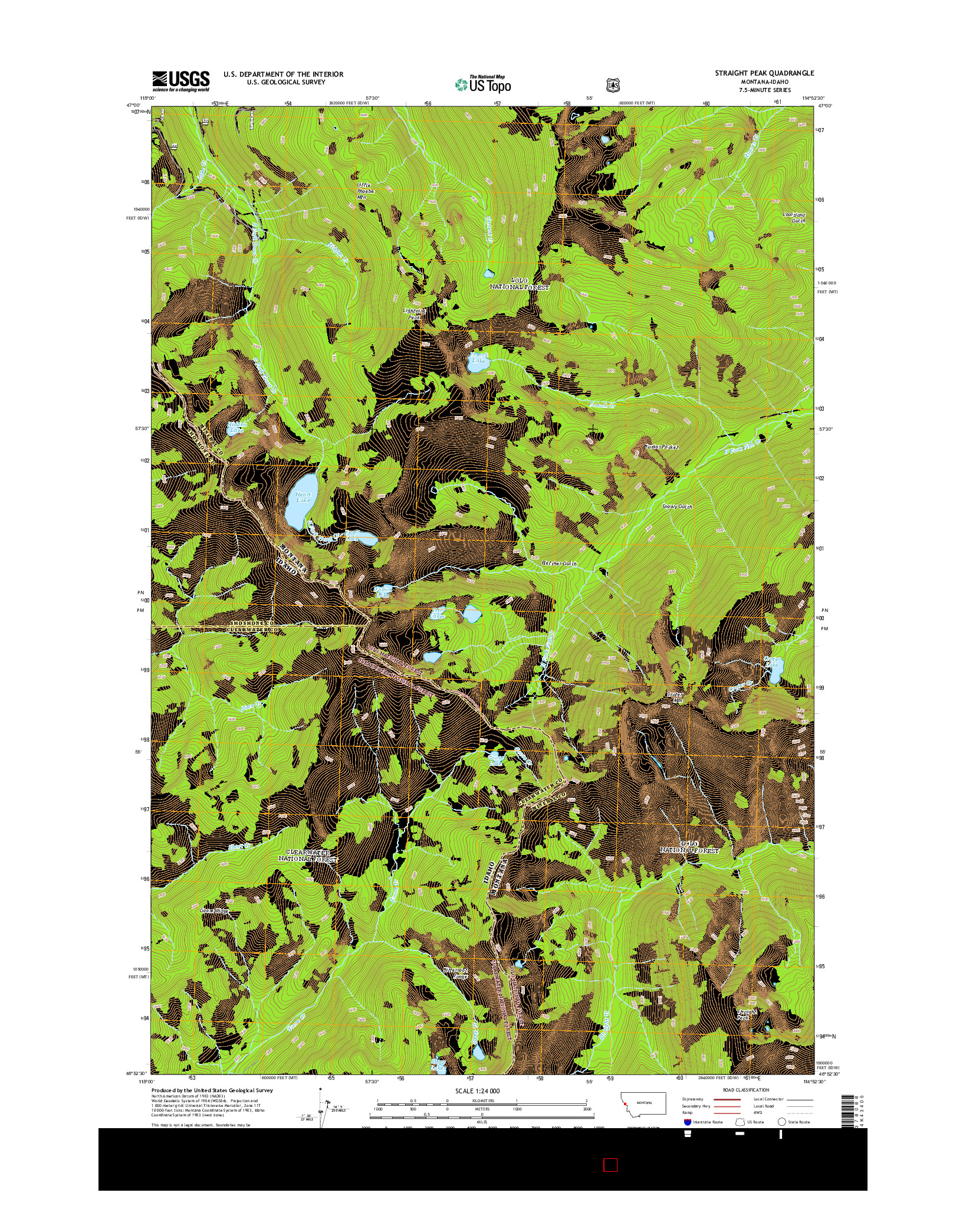 USGS US TOPO 7.5-MINUTE MAP FOR STRAIGHT PEAK, MT-ID 2014