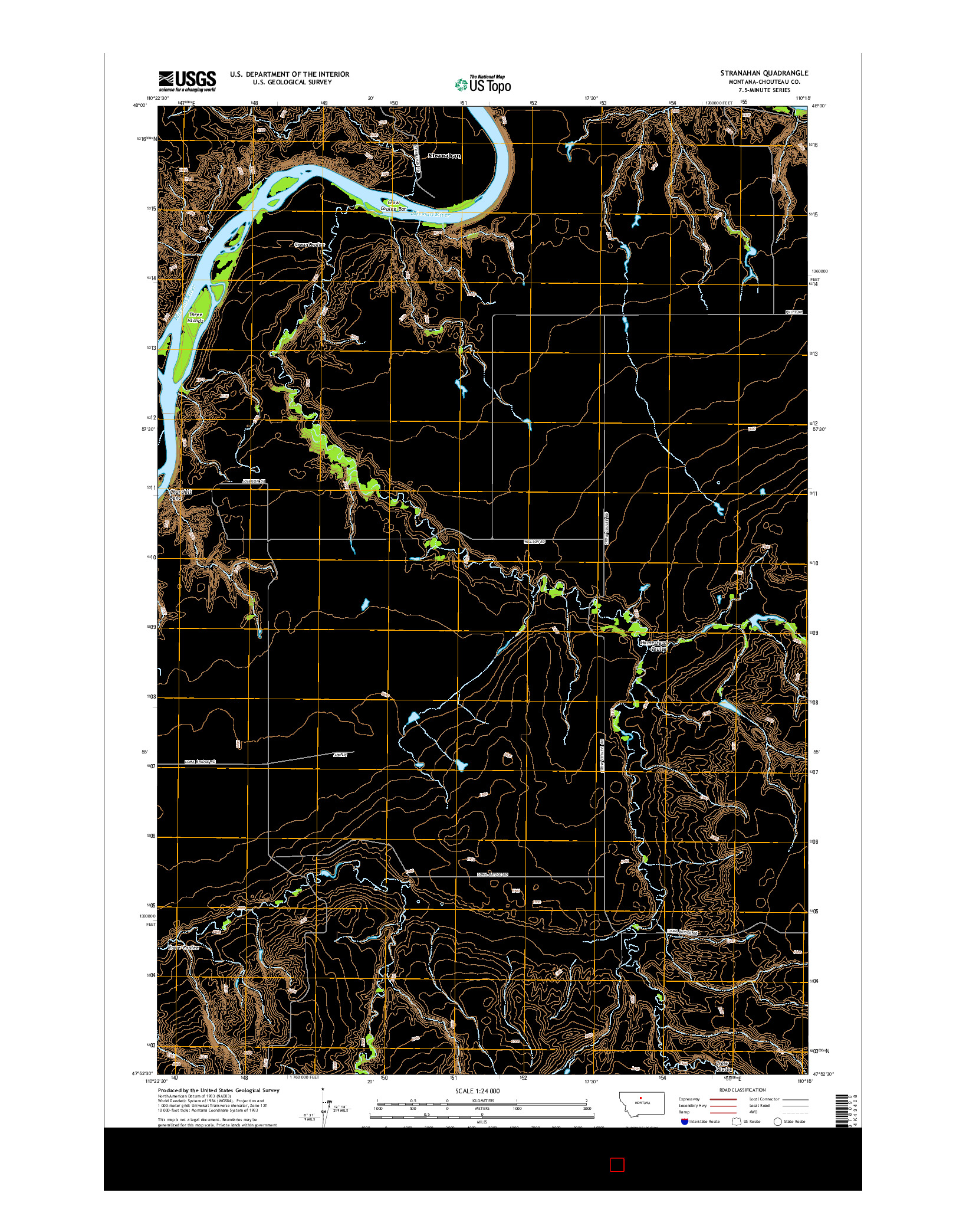 USGS US TOPO 7.5-MINUTE MAP FOR STRANAHAN, MT 2014
