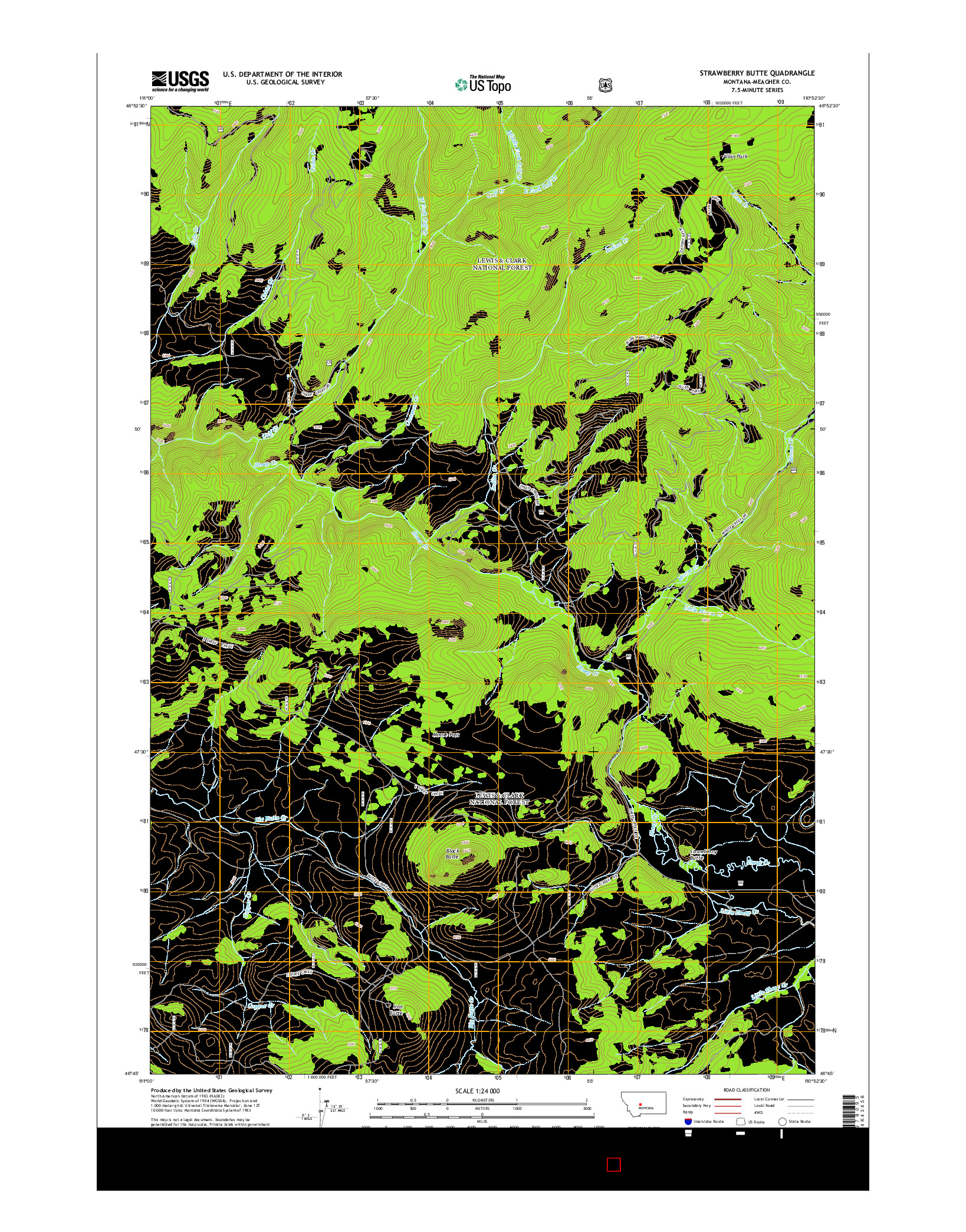 USGS US TOPO 7.5-MINUTE MAP FOR STRAWBERRY BUTTE, MT 2014