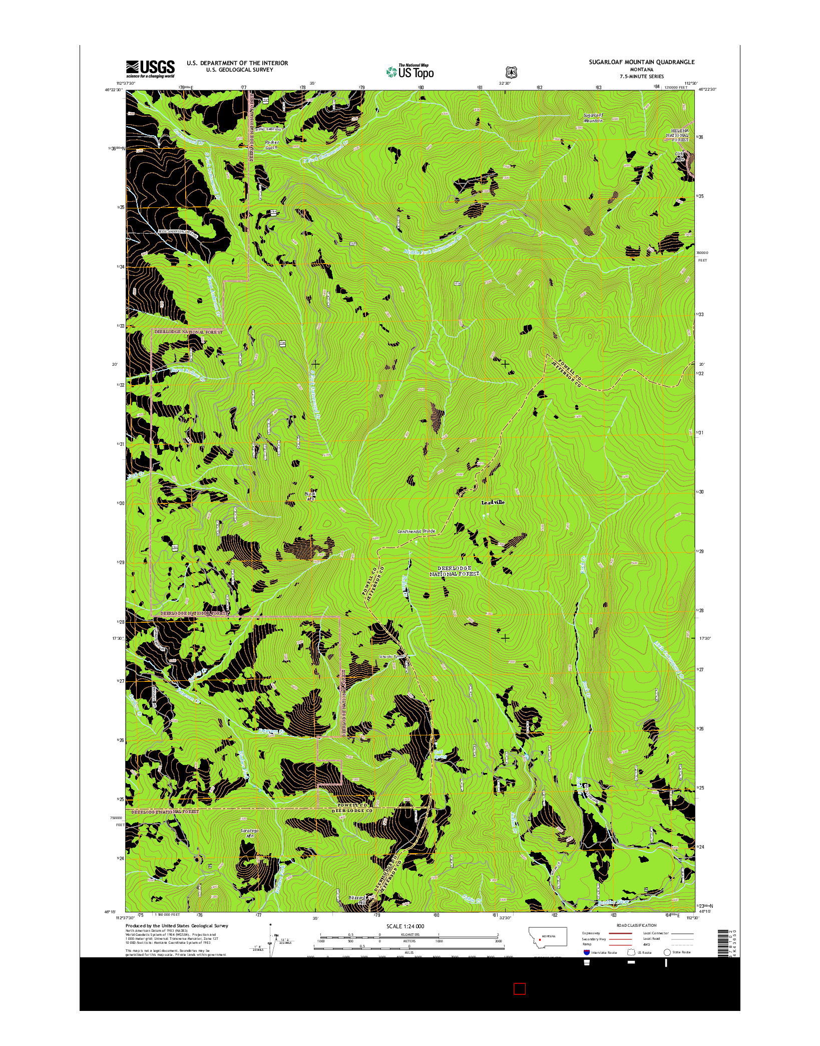USGS US TOPO 7.5-MINUTE MAP FOR SUGARLOAF MOUNTAIN, MT 2014