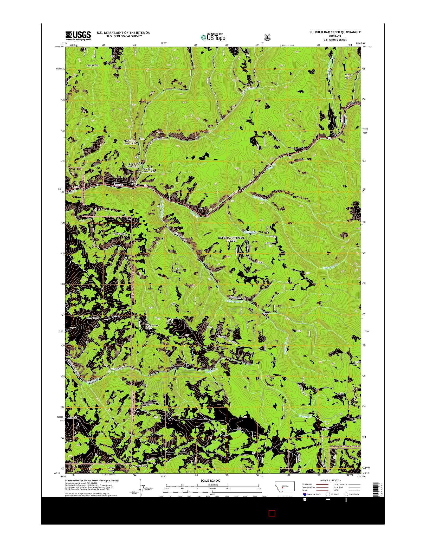 USGS US TOPO 7.5-MINUTE MAP FOR SULPHUR BAR CREEK, MT 2014