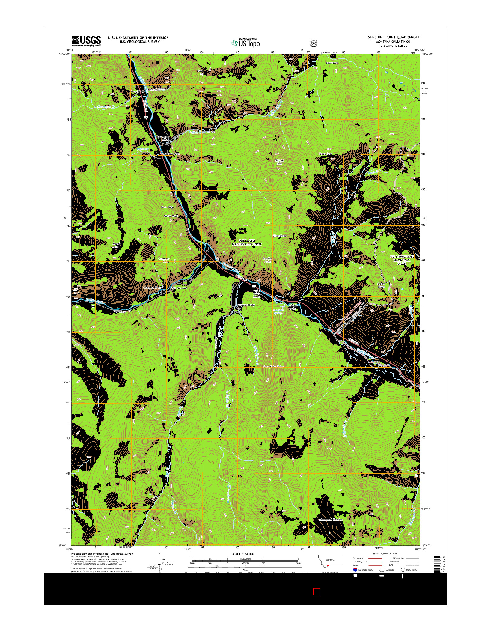 USGS US TOPO 7.5-MINUTE MAP FOR SUNSHINE POINT, MT 2014