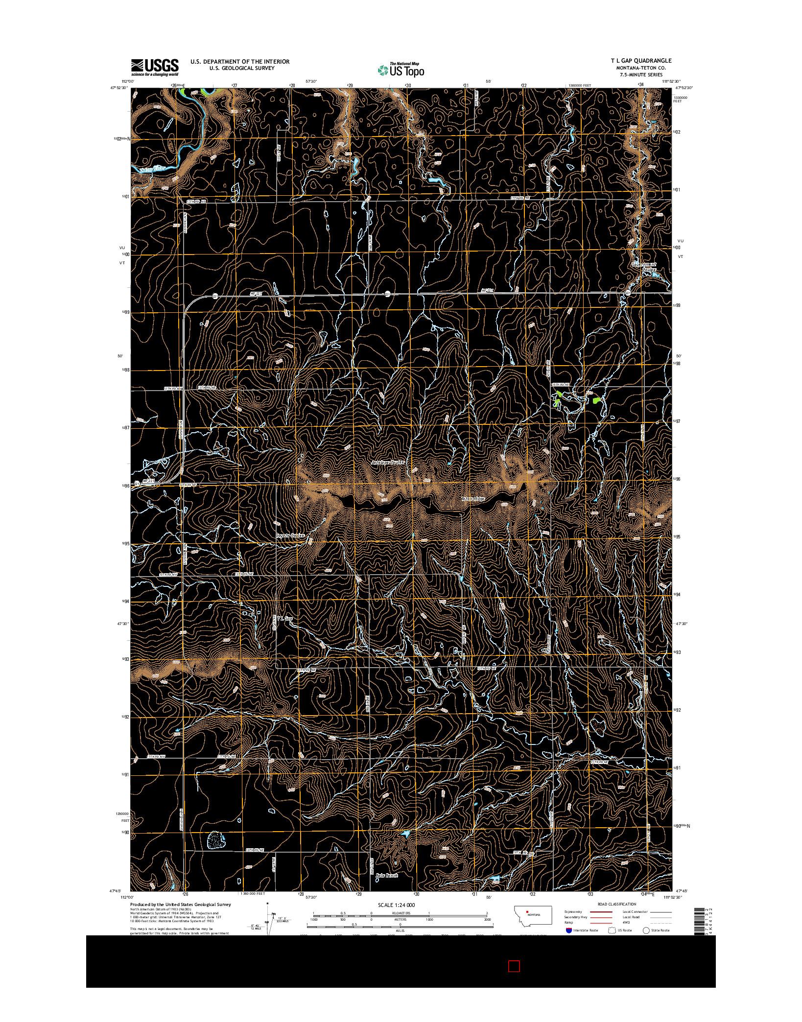 USGS US TOPO 7.5-MINUTE MAP FOR T L GAP, MT 2014