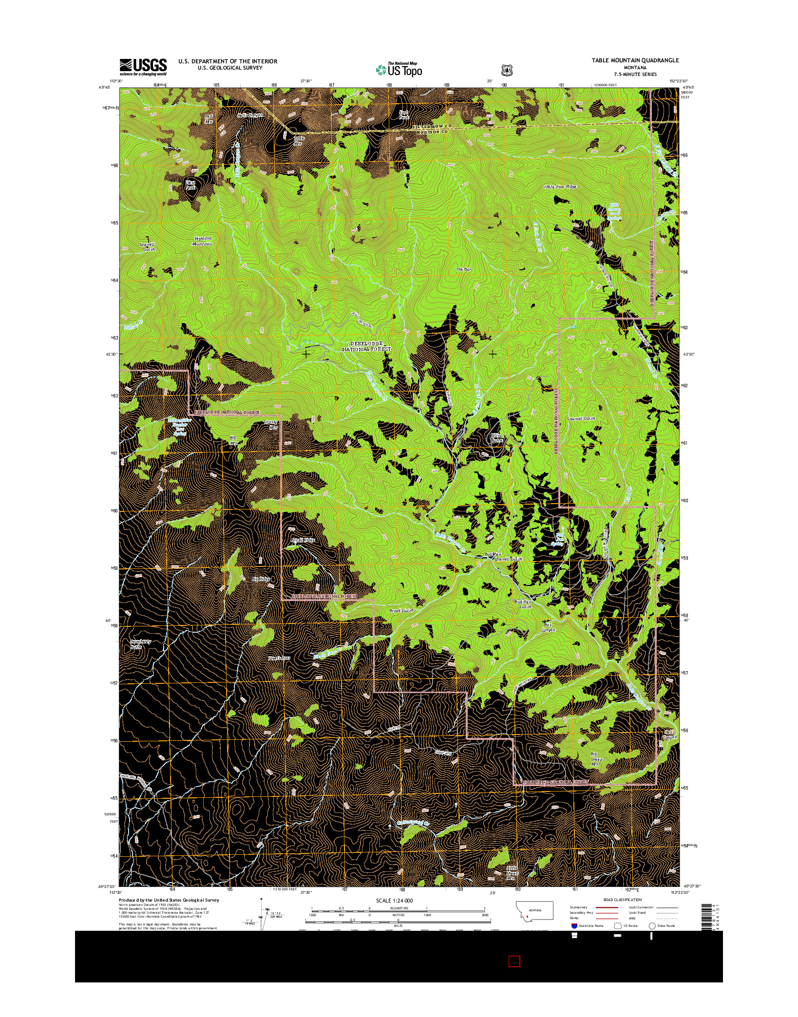 USGS US TOPO 7.5-MINUTE MAP FOR TABLE MOUNTAIN, MT 2014