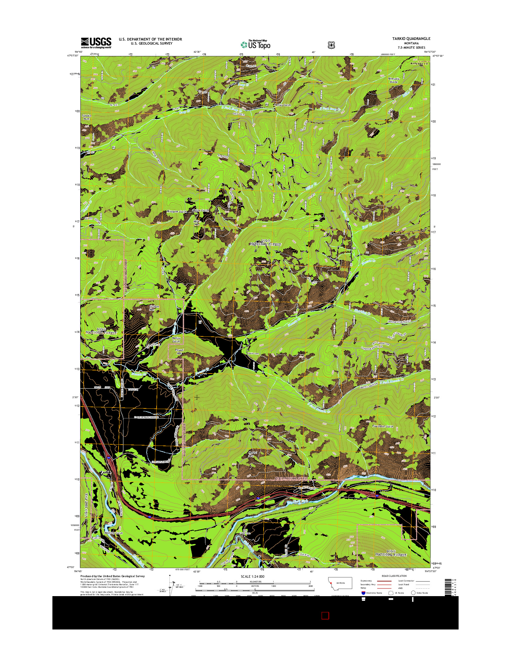 USGS US TOPO 7.5-MINUTE MAP FOR TARKIO, MT 2014
