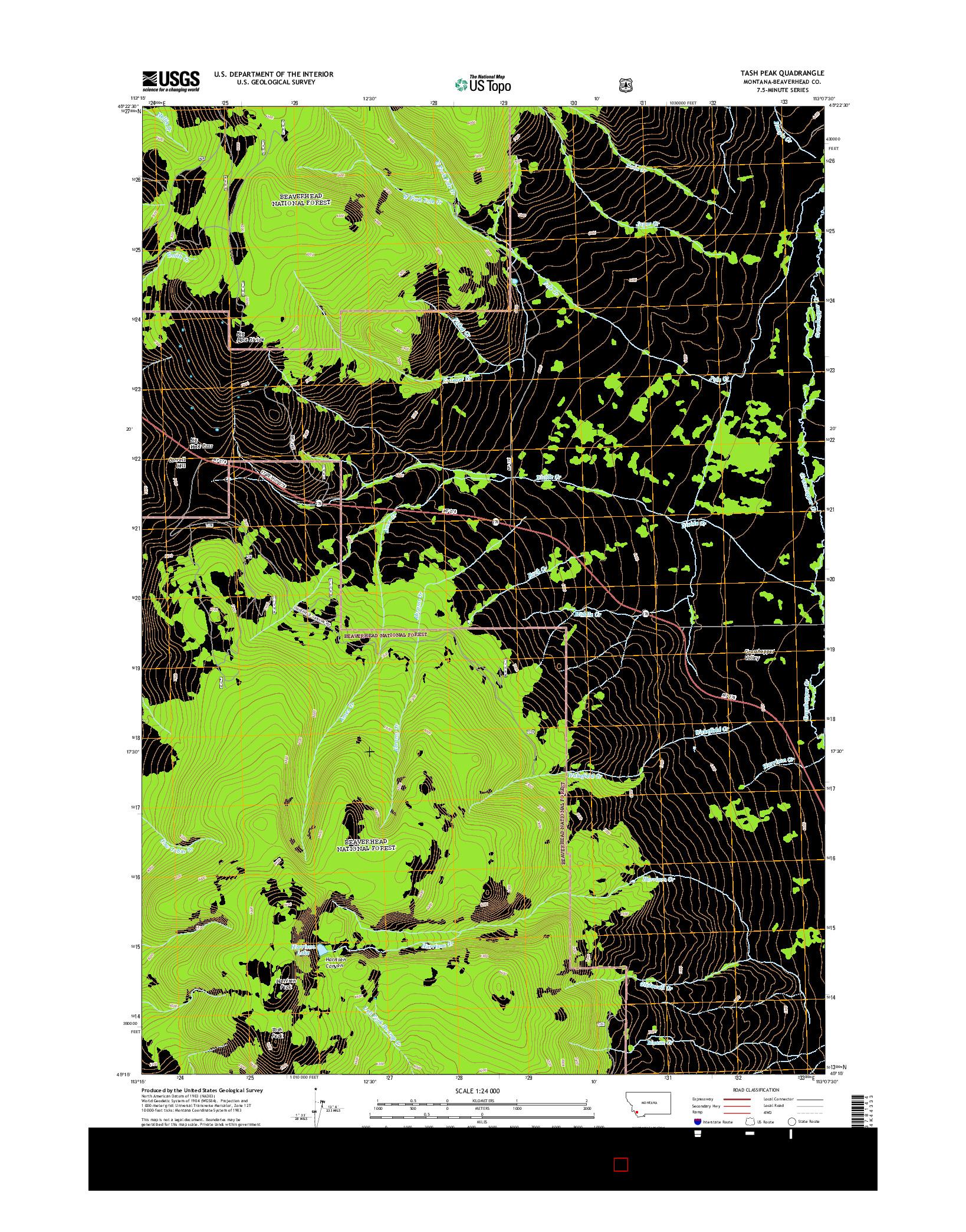 USGS US TOPO 7.5-MINUTE MAP FOR TASH PEAK, MT 2014