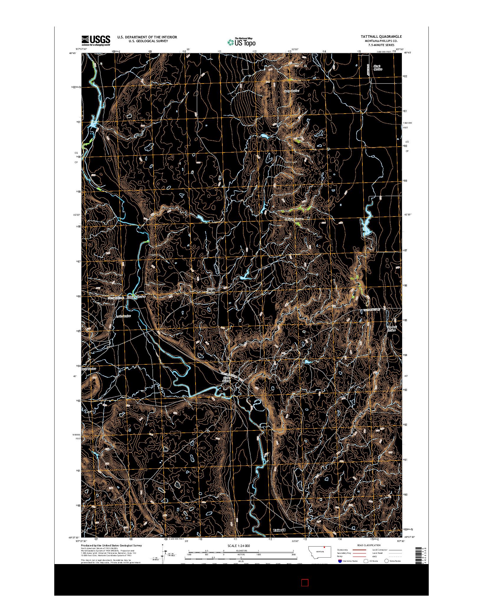 USGS US TOPO 7.5-MINUTE MAP FOR TATTNALL, MT 2014