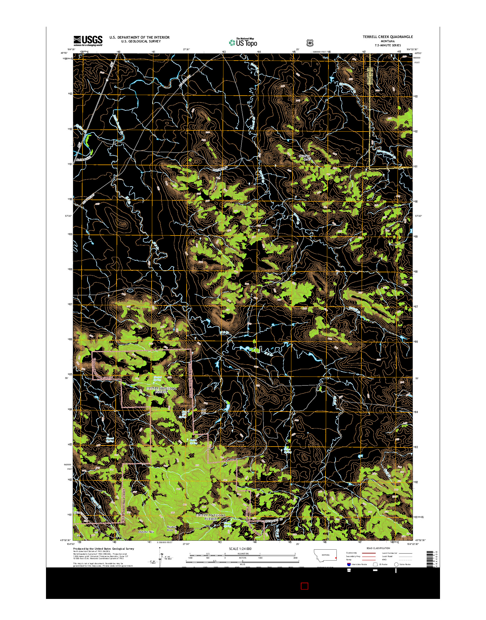 USGS US TOPO 7.5-MINUTE MAP FOR TERRELL CREEK, MT 2014