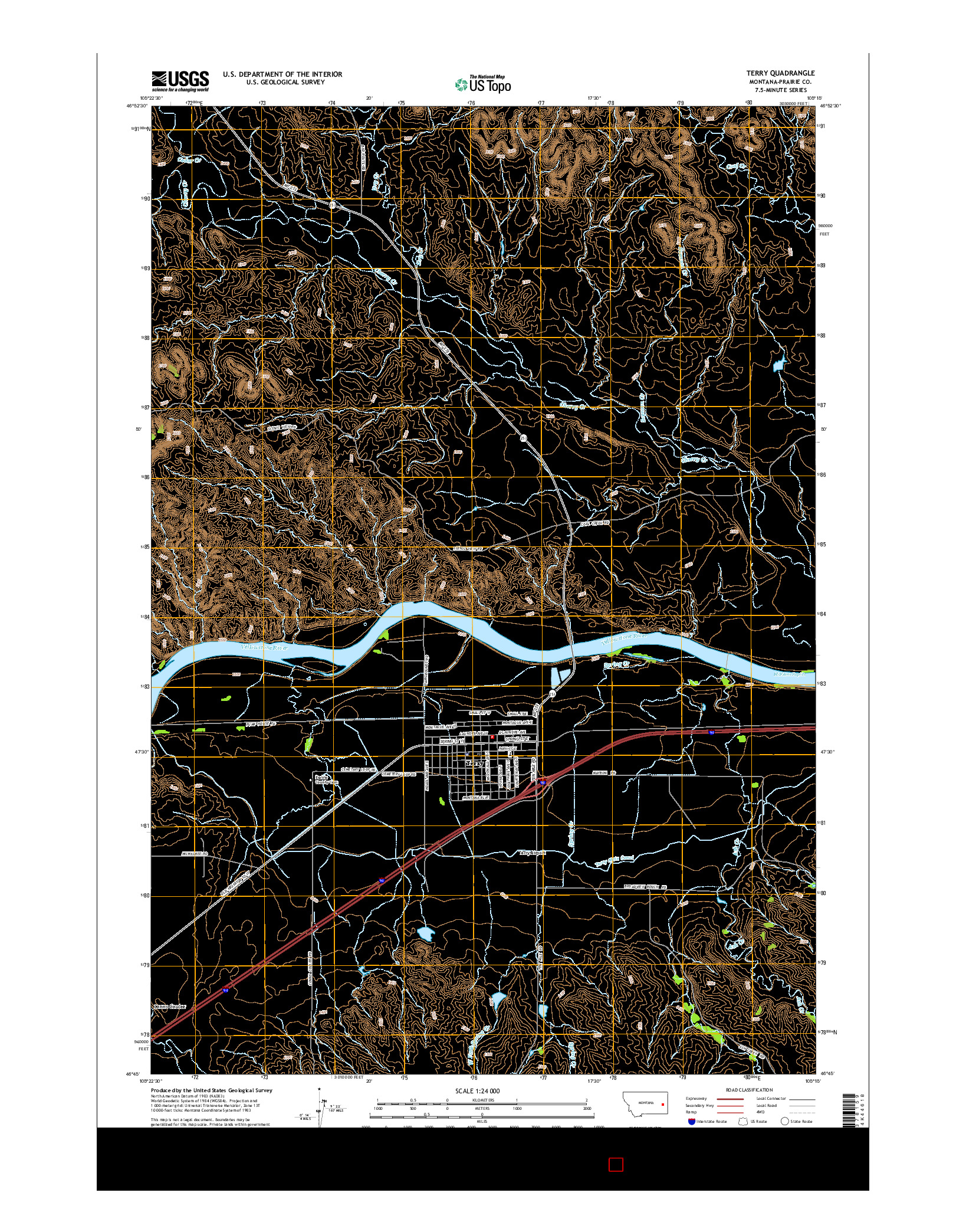USGS US TOPO 7.5-MINUTE MAP FOR TERRY, MT 2014