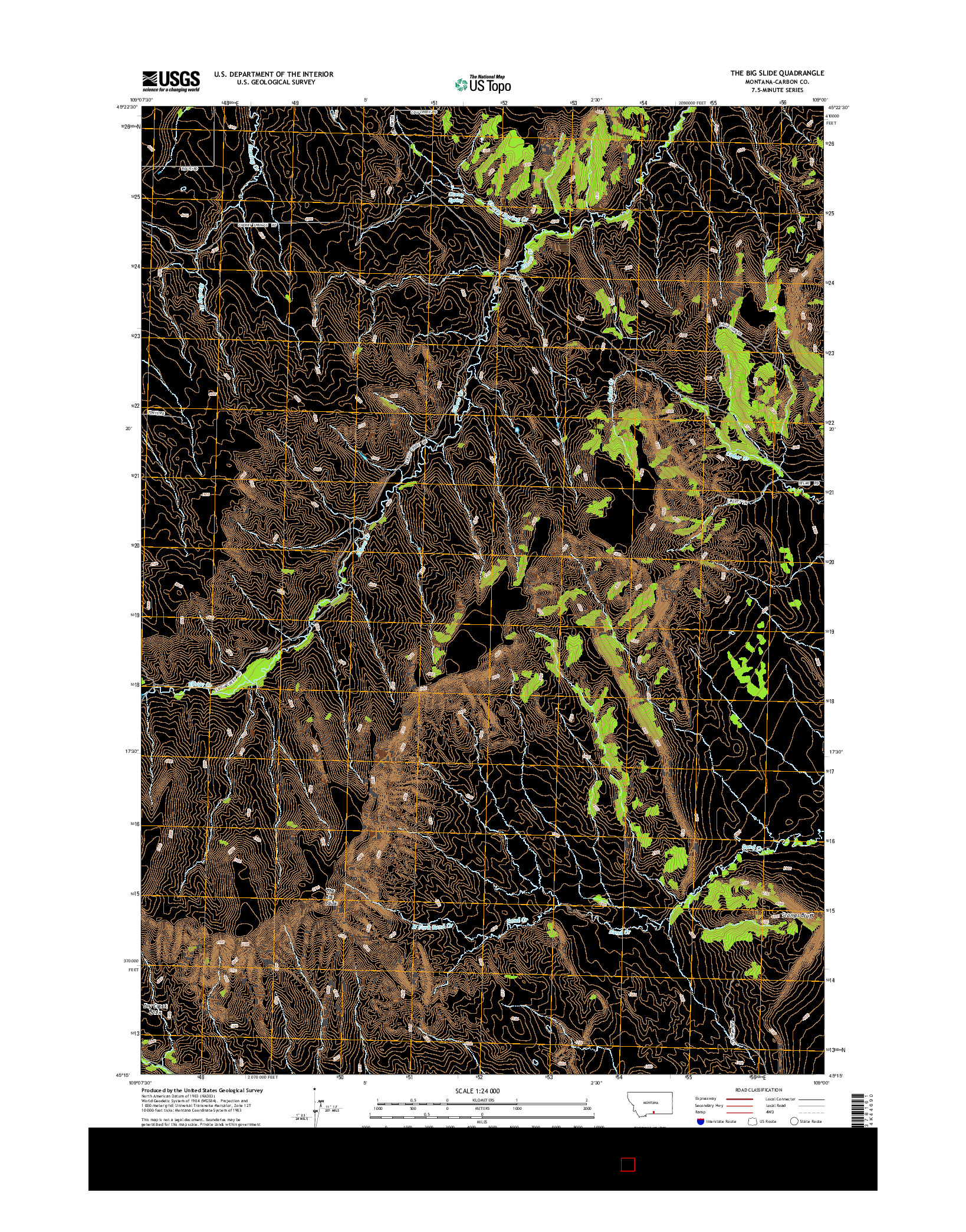 USGS US TOPO 7.5-MINUTE MAP FOR THE BIG SLIDE, MT 2014