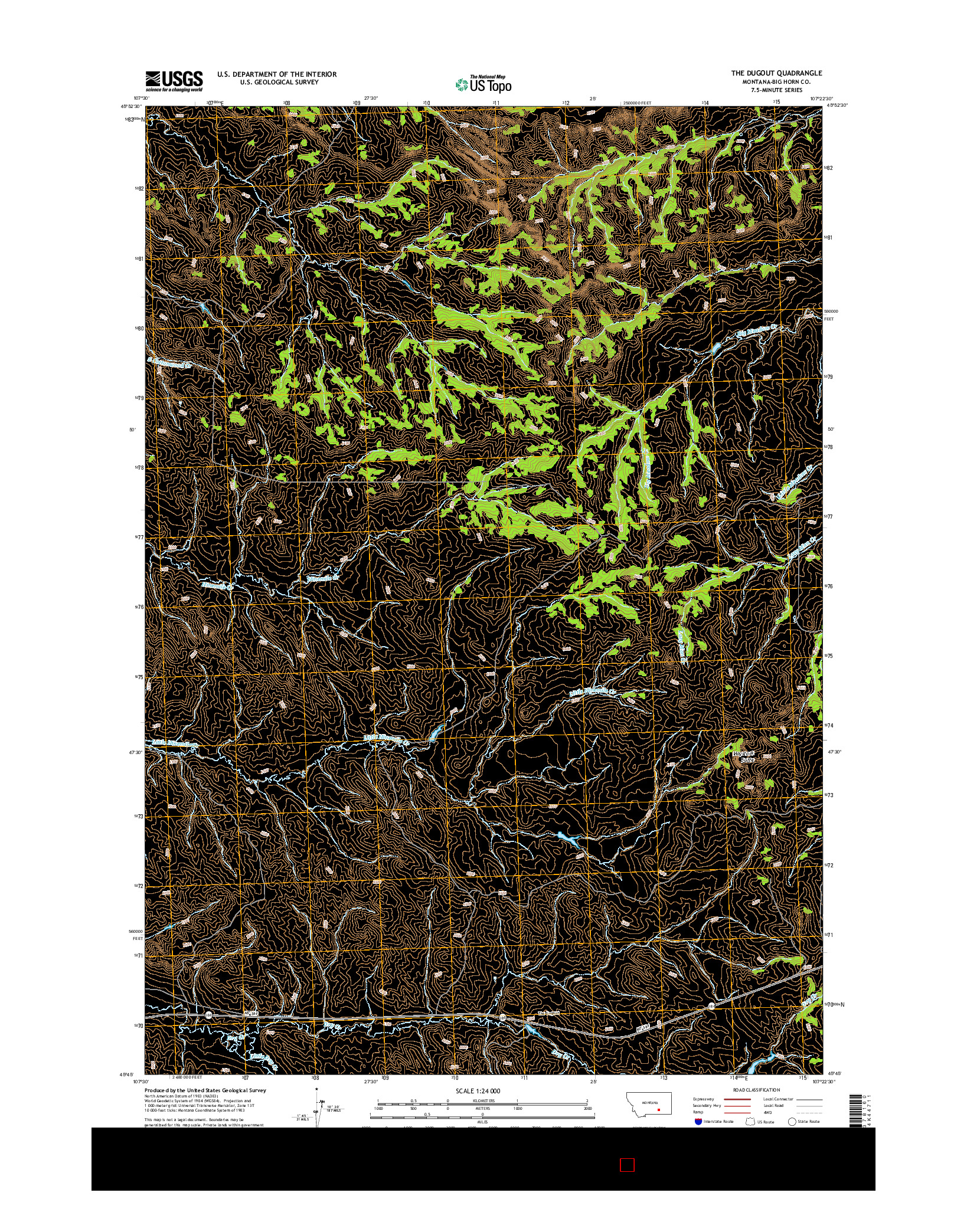 USGS US TOPO 7.5-MINUTE MAP FOR THE DUGOUT, MT 2014