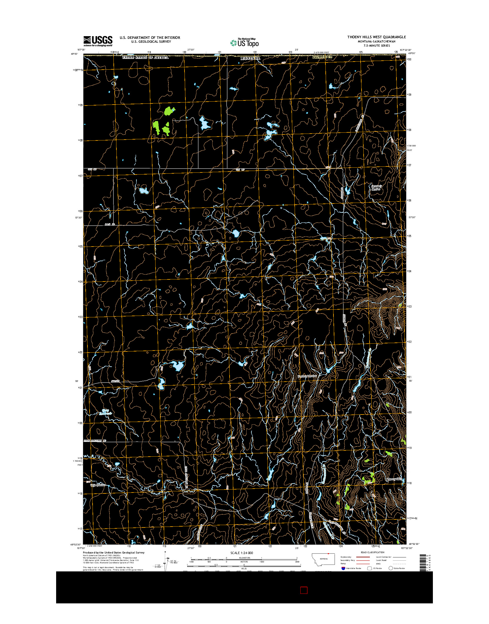USGS US TOPO 7.5-MINUTE MAP FOR THOENY HILLS WEST, MT-SK 2014
